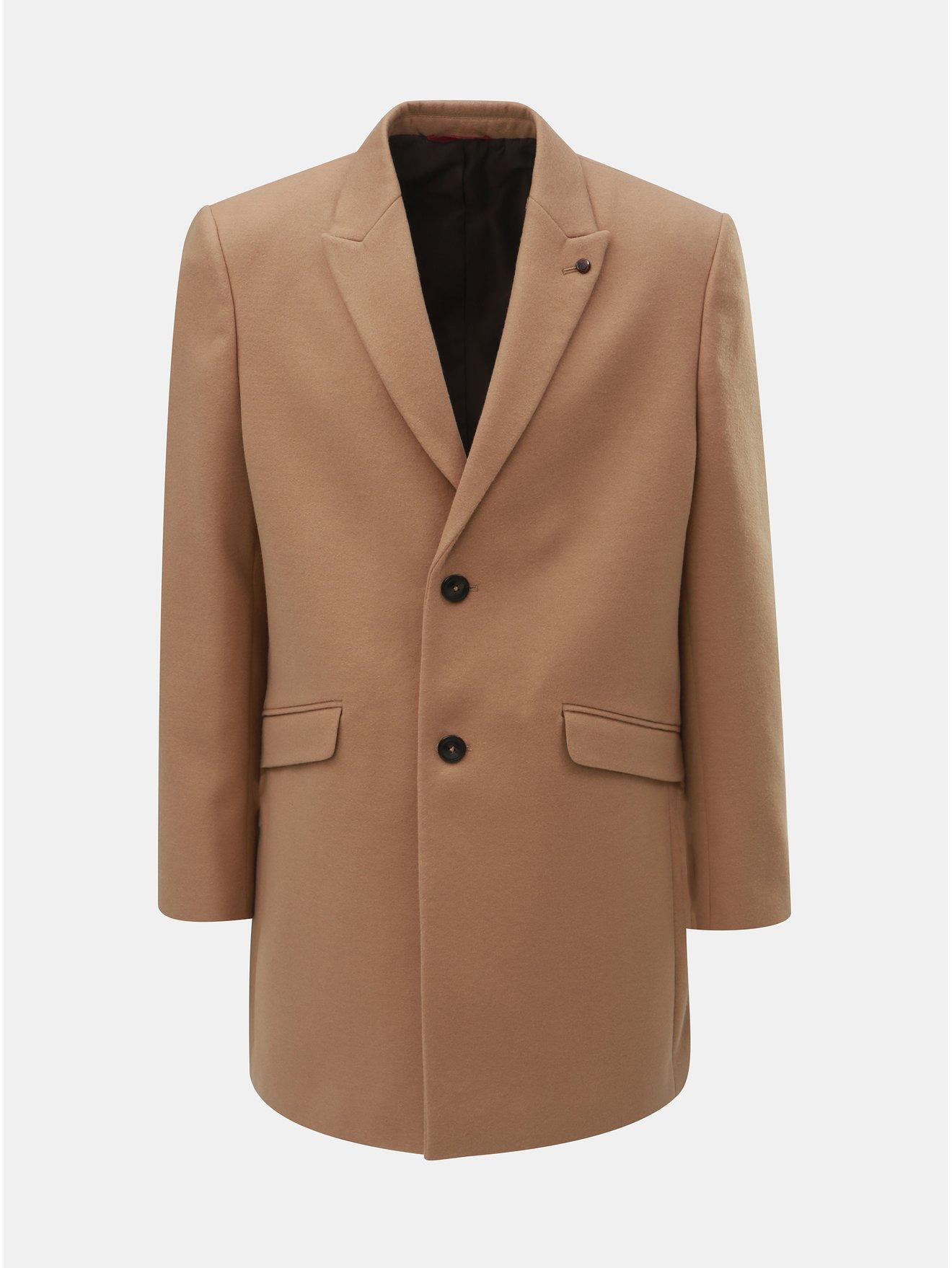 8dcd16f86e5c Hnědý kabát Burton Menswear London Crombie - Akční cena