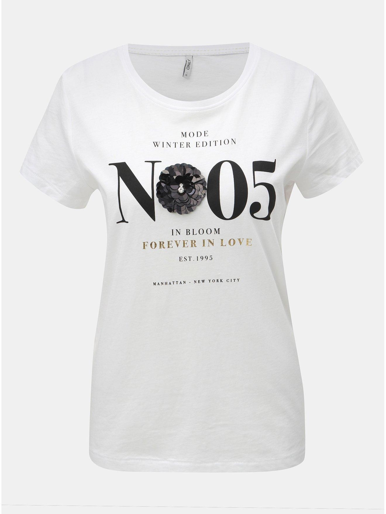 Bílé tričko s potiskem a flitrovou aplikací ONLY Kita