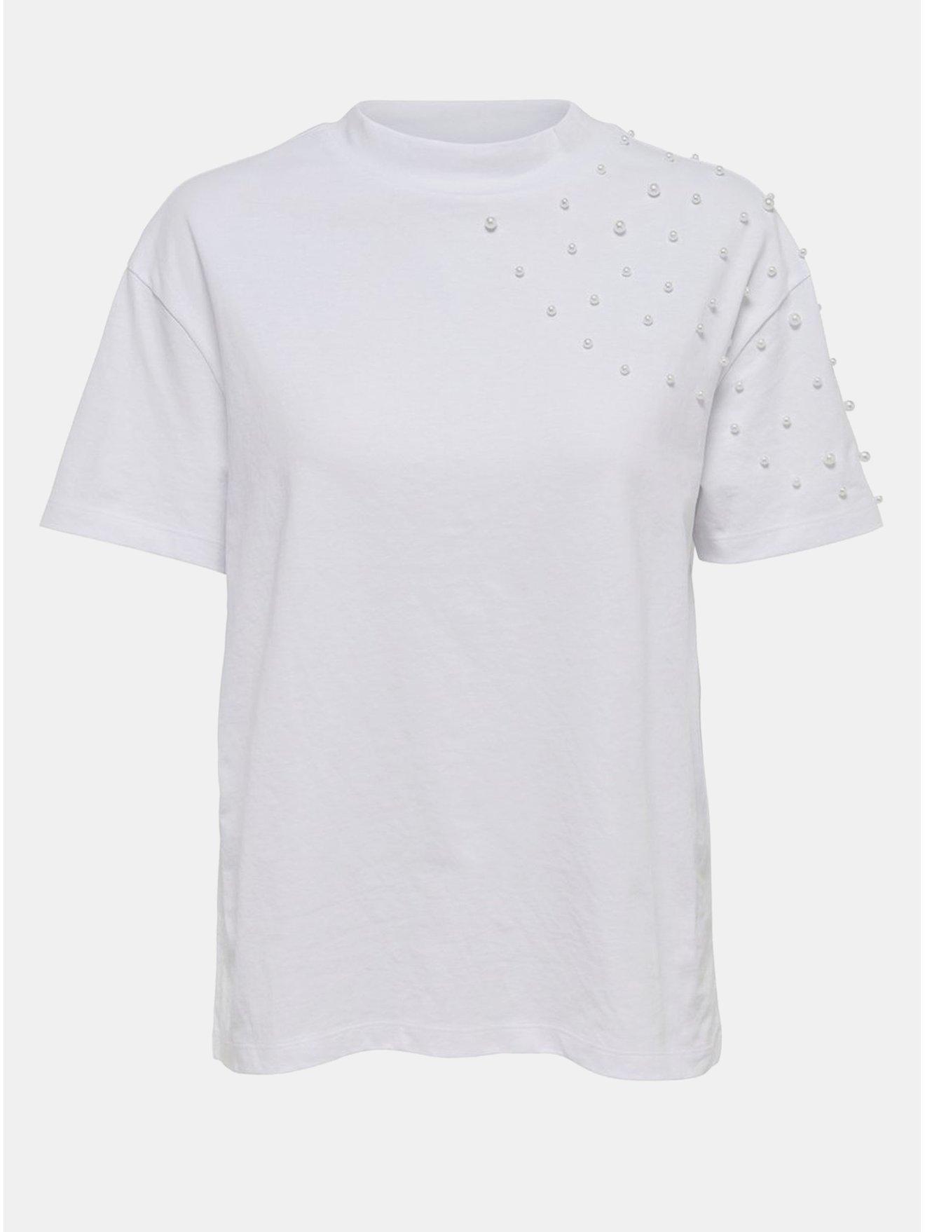 Bílé tričko s korálkovou aplikací Jacqueline de Yong Bugs