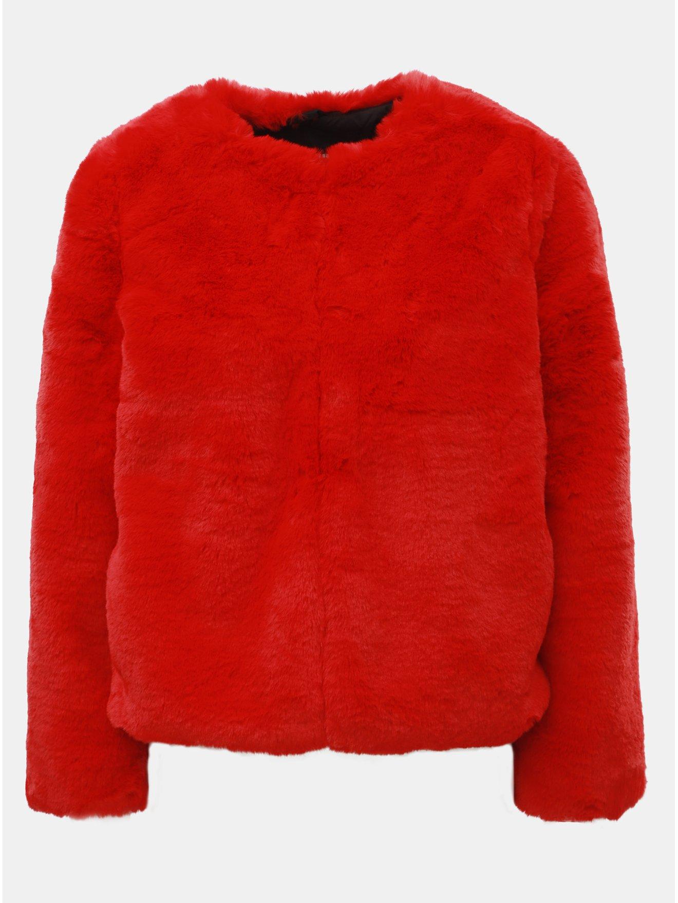 53f3b3a8b2b Červený krátký kabát z umělé kožešiny TALLY WEiJL