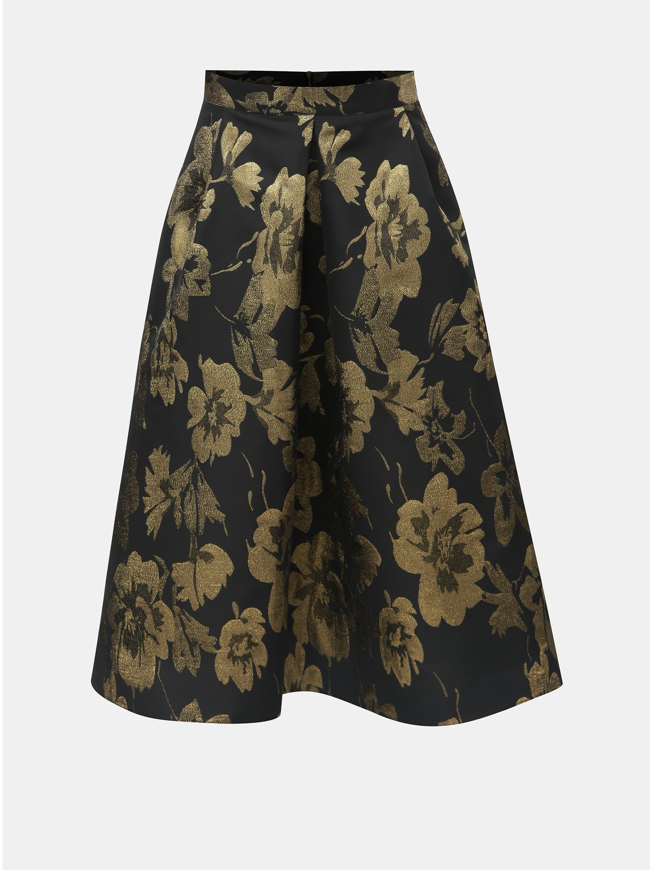 Zlato-černá květovaná midi sukně Dorothy Perkins