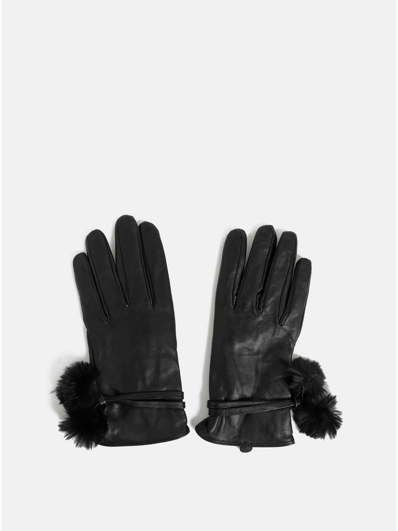 Černé kožené rukavice s bambulkami Dorothy Perkins