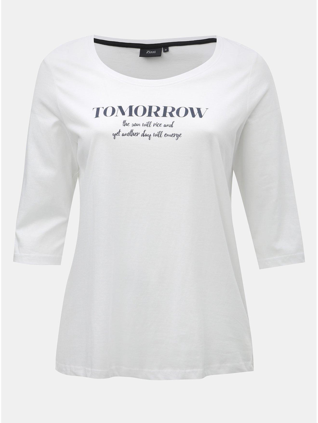 Bílé tričko s potiskem a 3 4 rukávem Zizzi 043df81ca15