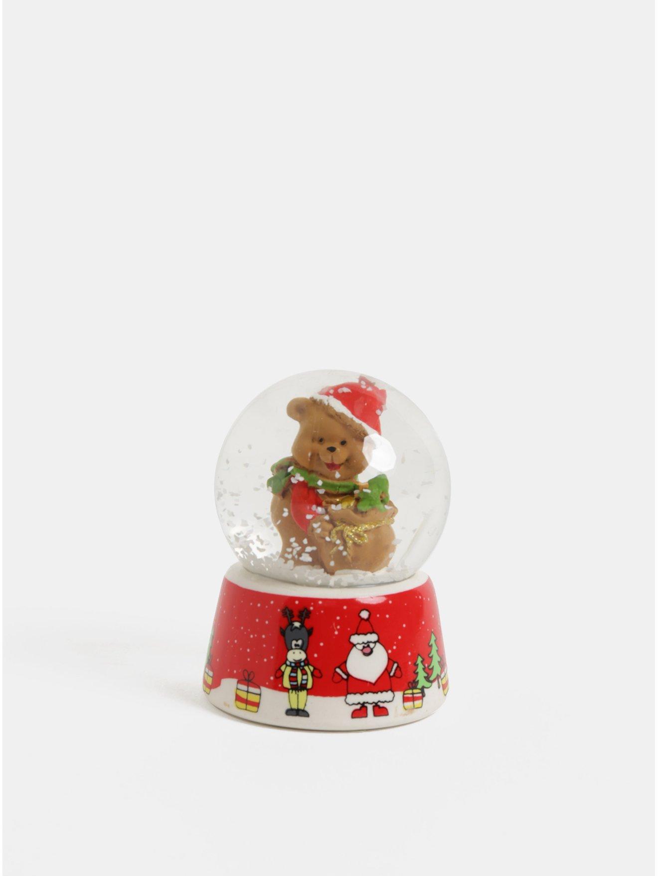 Červené vánoční sněžítko s motivem medvěda Kaemingk