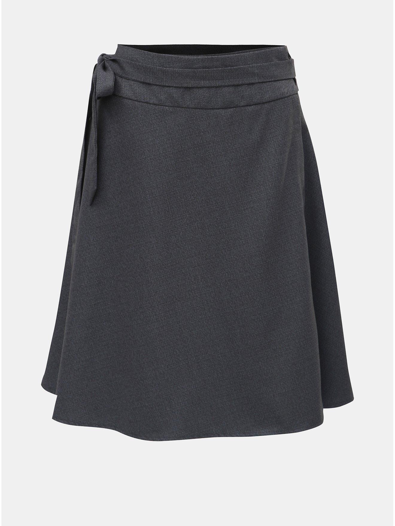 Tmavě šedá zavinovací sukně s příměsí kašmíru a se sklady v zadní části La femme MiMi