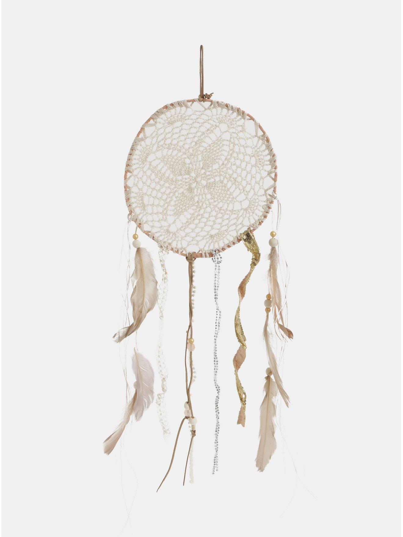 Hnědo-krémový lapač snů s peříčky a flitry Kaemingk