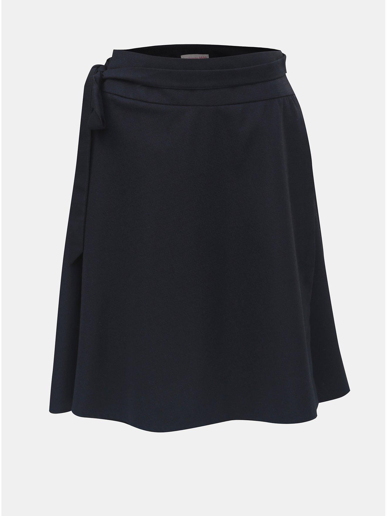 Tmavě modrá zavinovací sukně s příměsí kašmíru a se sklady v zadní části La femme MiMi