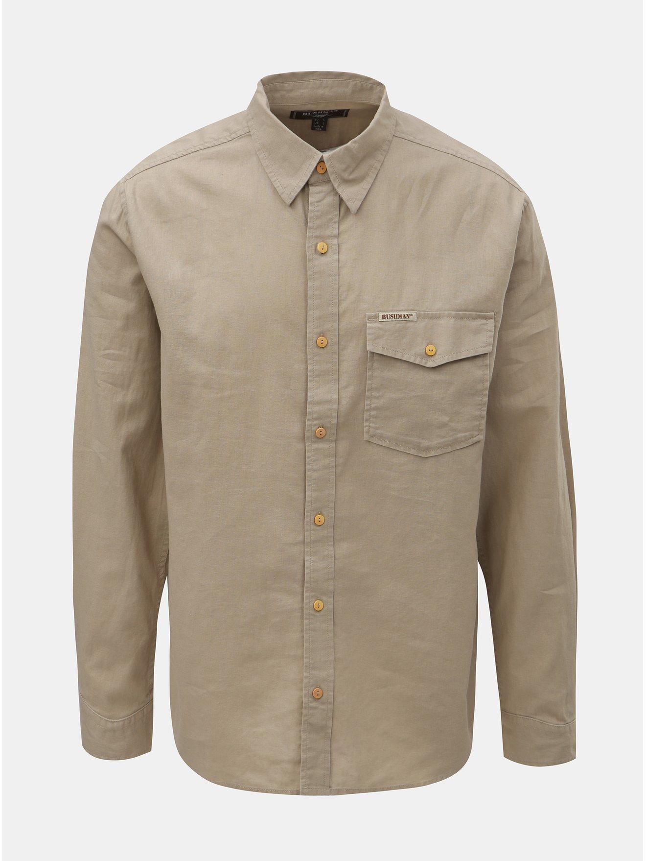 Béžová pánská lněná košile s náprsní kapsou BUSHMAN Trafalgar 5b912cedf1