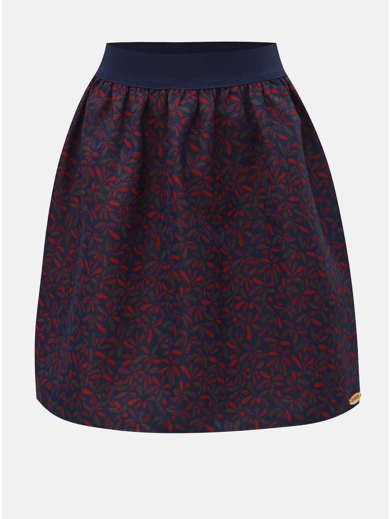 Růžovo-modrá květovaná sukně SEVERANKA