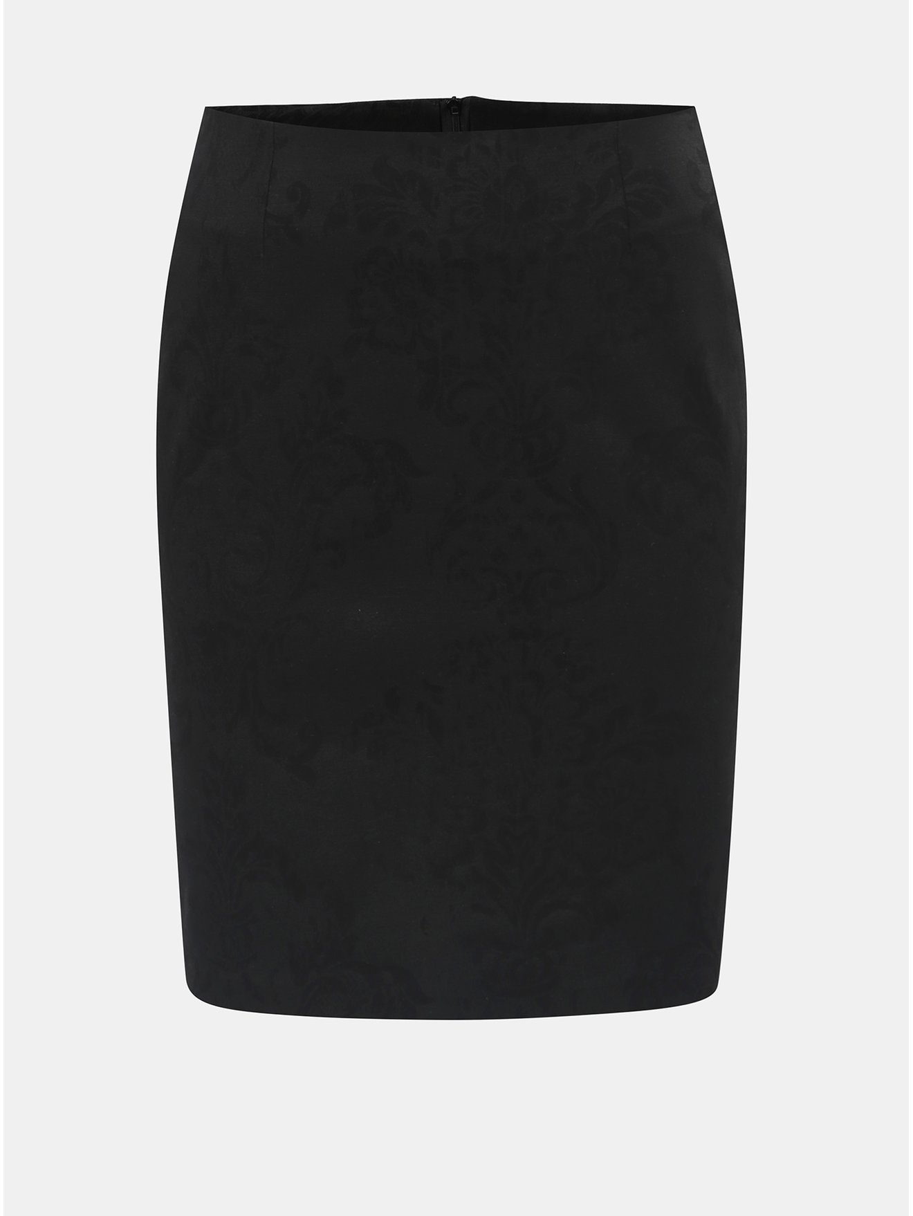 Černá květovaná sukně s rozparkem v zadní části SEVERANKA