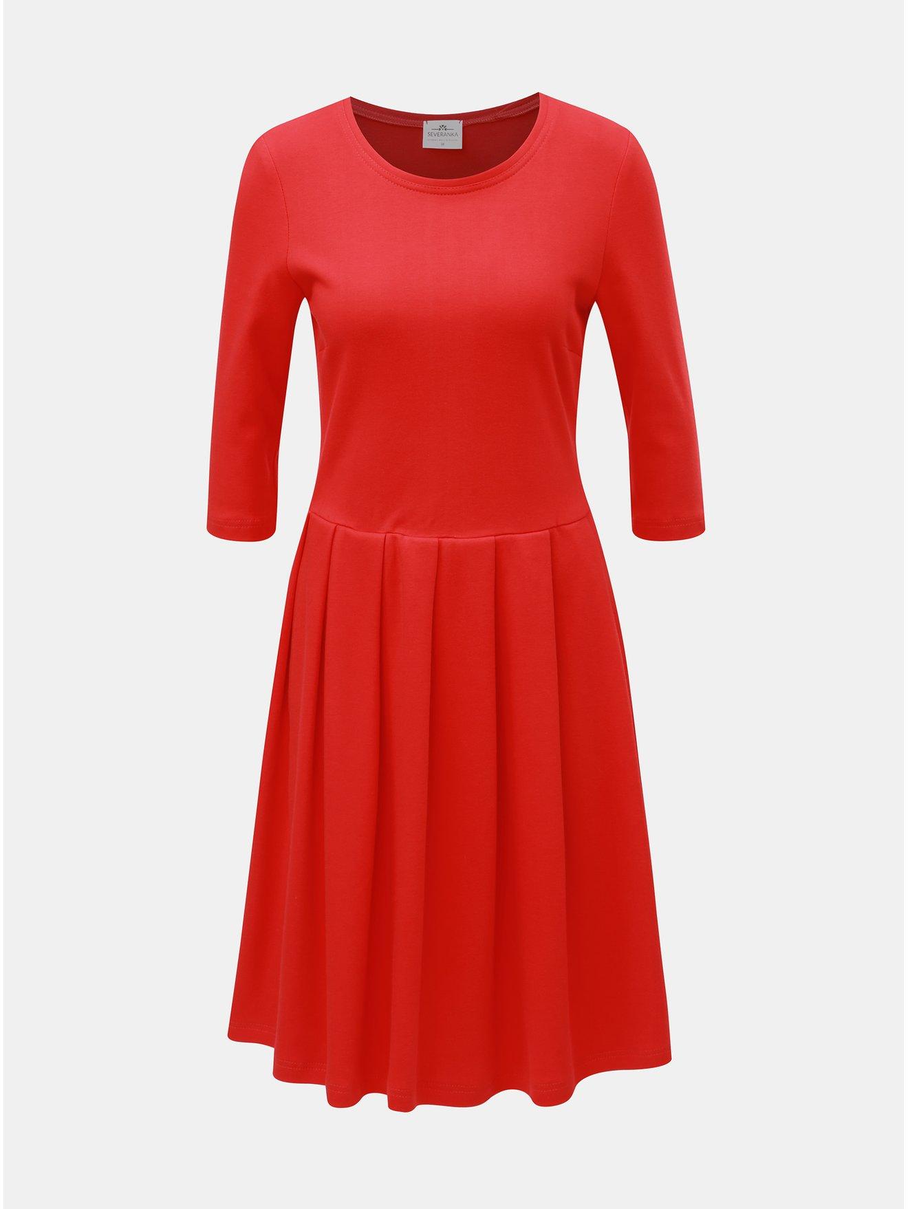 Červené šaty s 3/4 rukávem SEVERANKA