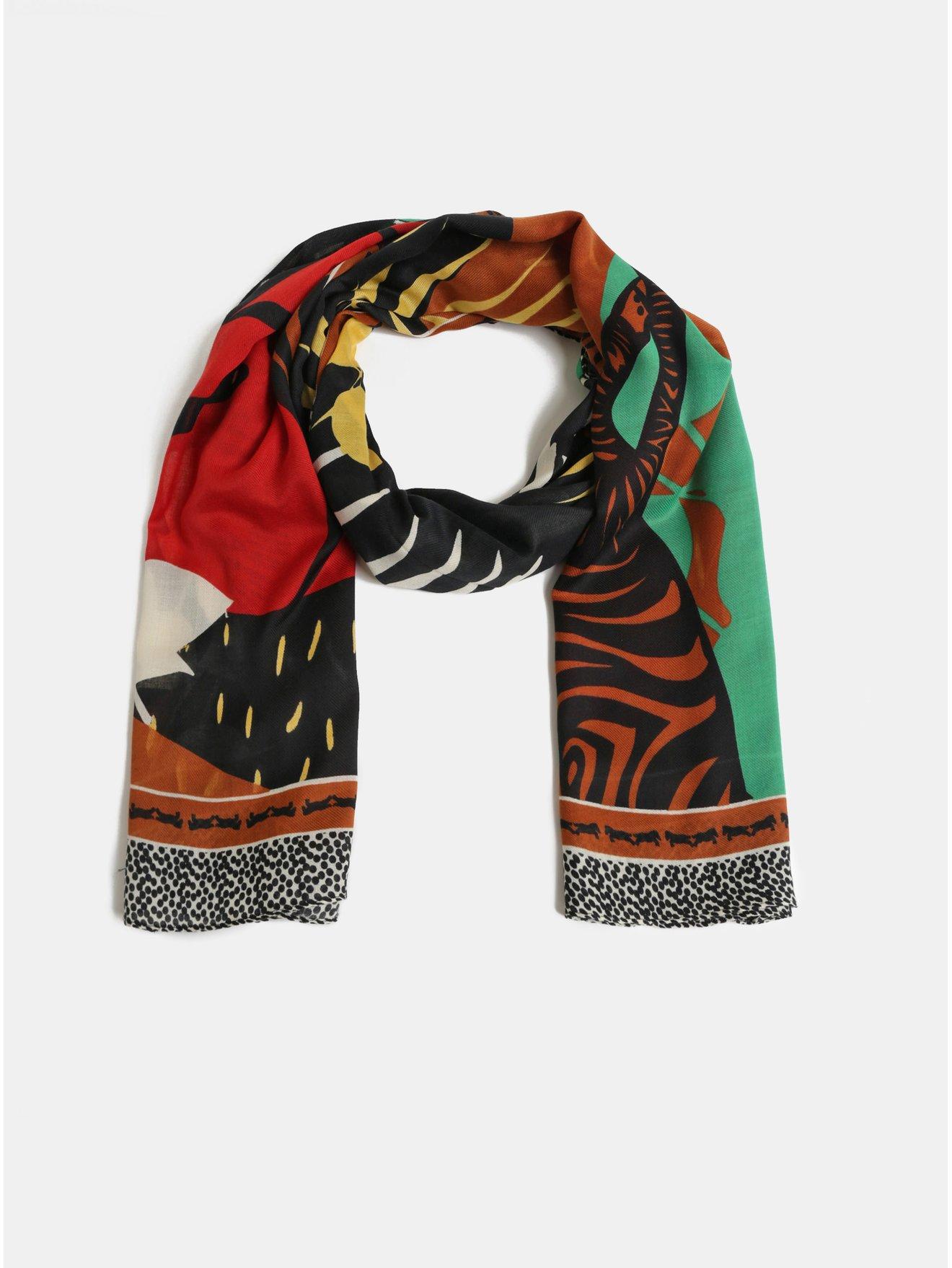 Hnědo-černý šátek s motivem listů Pieces Obina 865dc43632