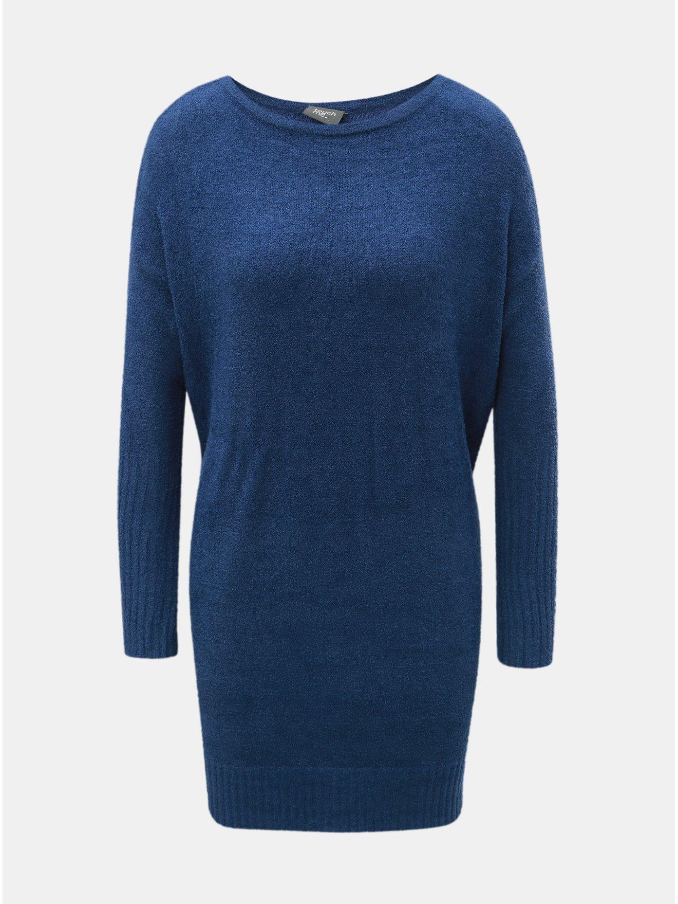 Modré svetrové minišaty s dlouhým rukávem a zavazováním touch me. cf74416b91
