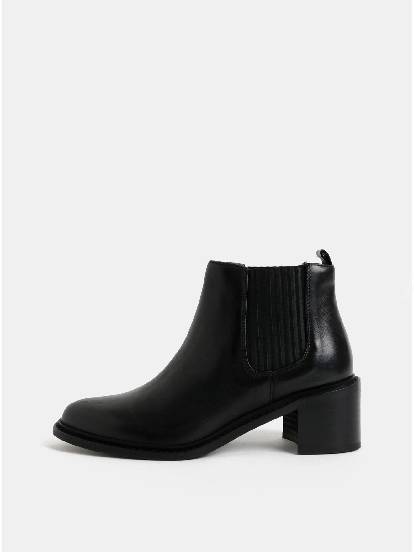 Černé dámské kožené chelsea boty na podpatku Royal RepubliQ a0bb4f18c4
