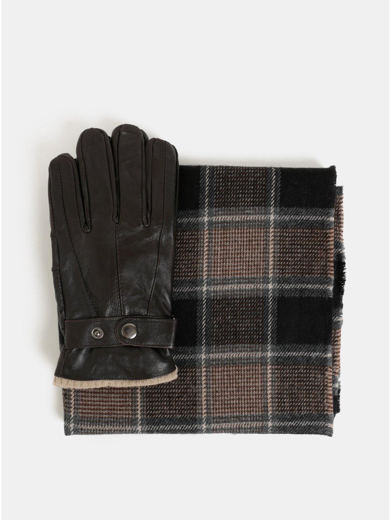 Sada šály a kožených rukavic v hnědé barvě v dárkové krabičce Portland