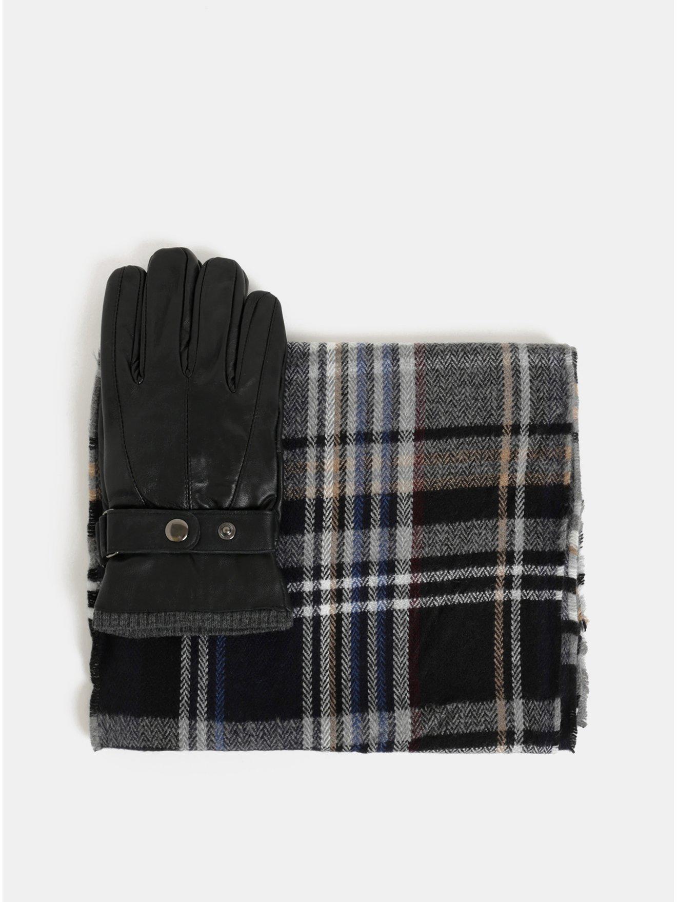 Sada šály a kožených rukavic v černé barvě v dárkové krabičce Portland 554b8e921a
