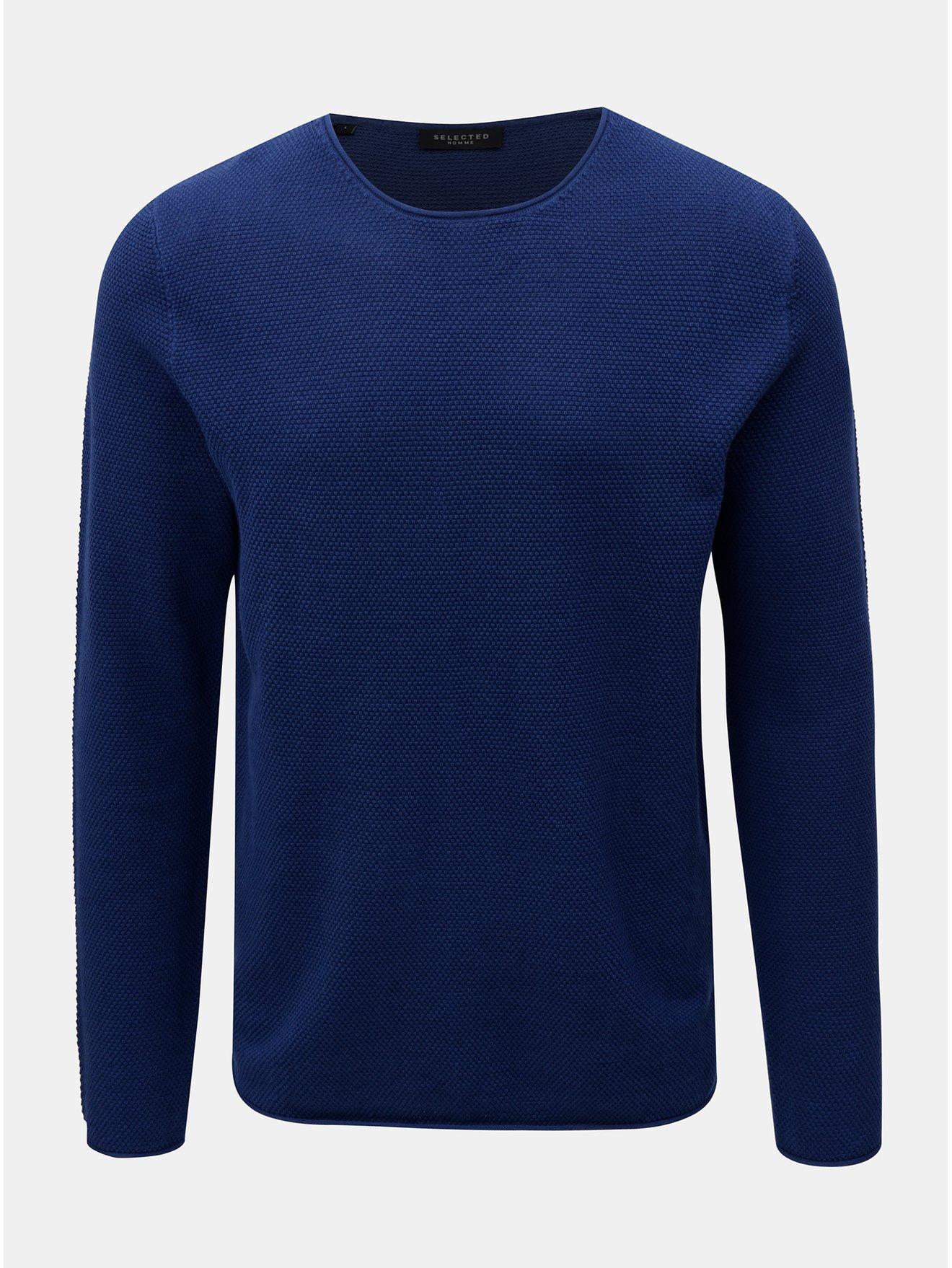 Tmavě modrý lehký svetr s dlouhým rukávem Selected Homme Rocky