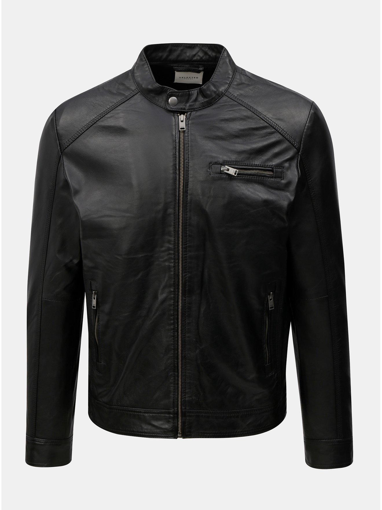 Černá kožená bunda Selected Homme