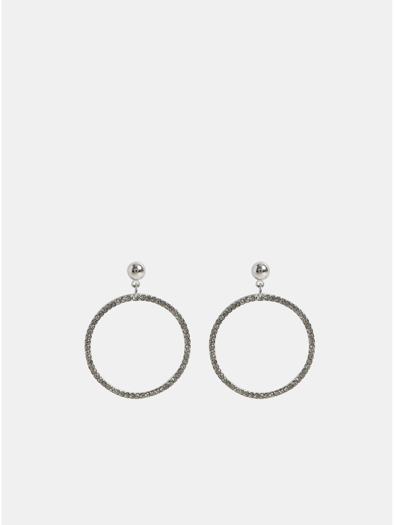 Kruhové visací náušnice ve stříbrné barvě s kamínky Pieces Lexi