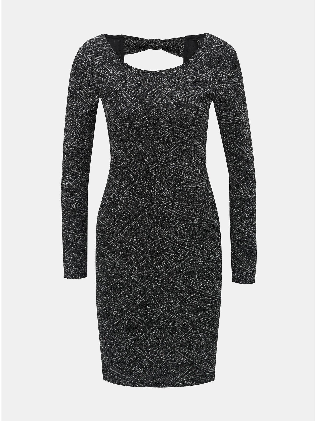 e4649a509b1 Vzorované pouzdrové šaty v černé a stříbrné barvě s průstřihem na zádech  ONLY Shine