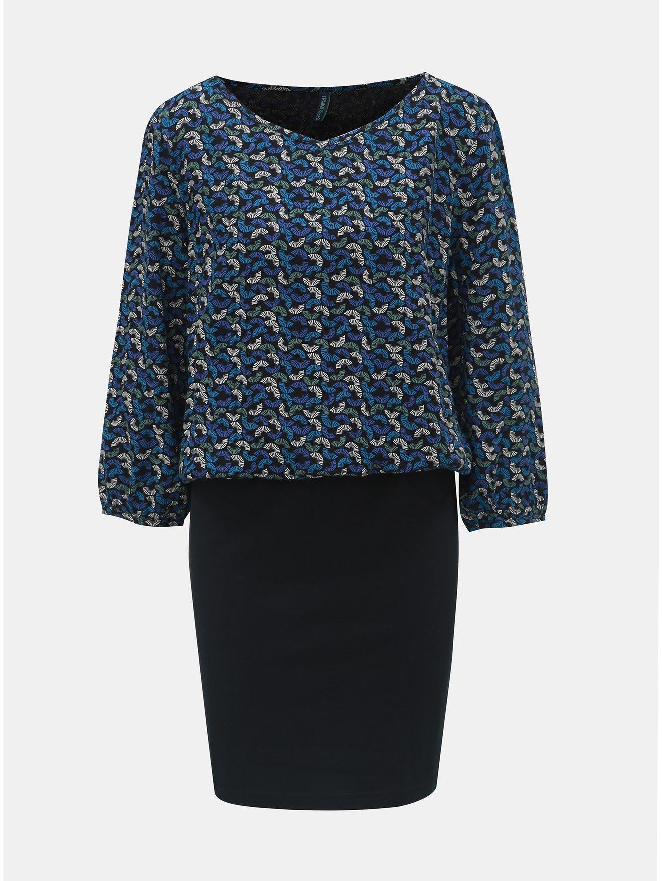 Černo-modré vzorované šaty s 3/4 rukávem Tranquillo Macha
