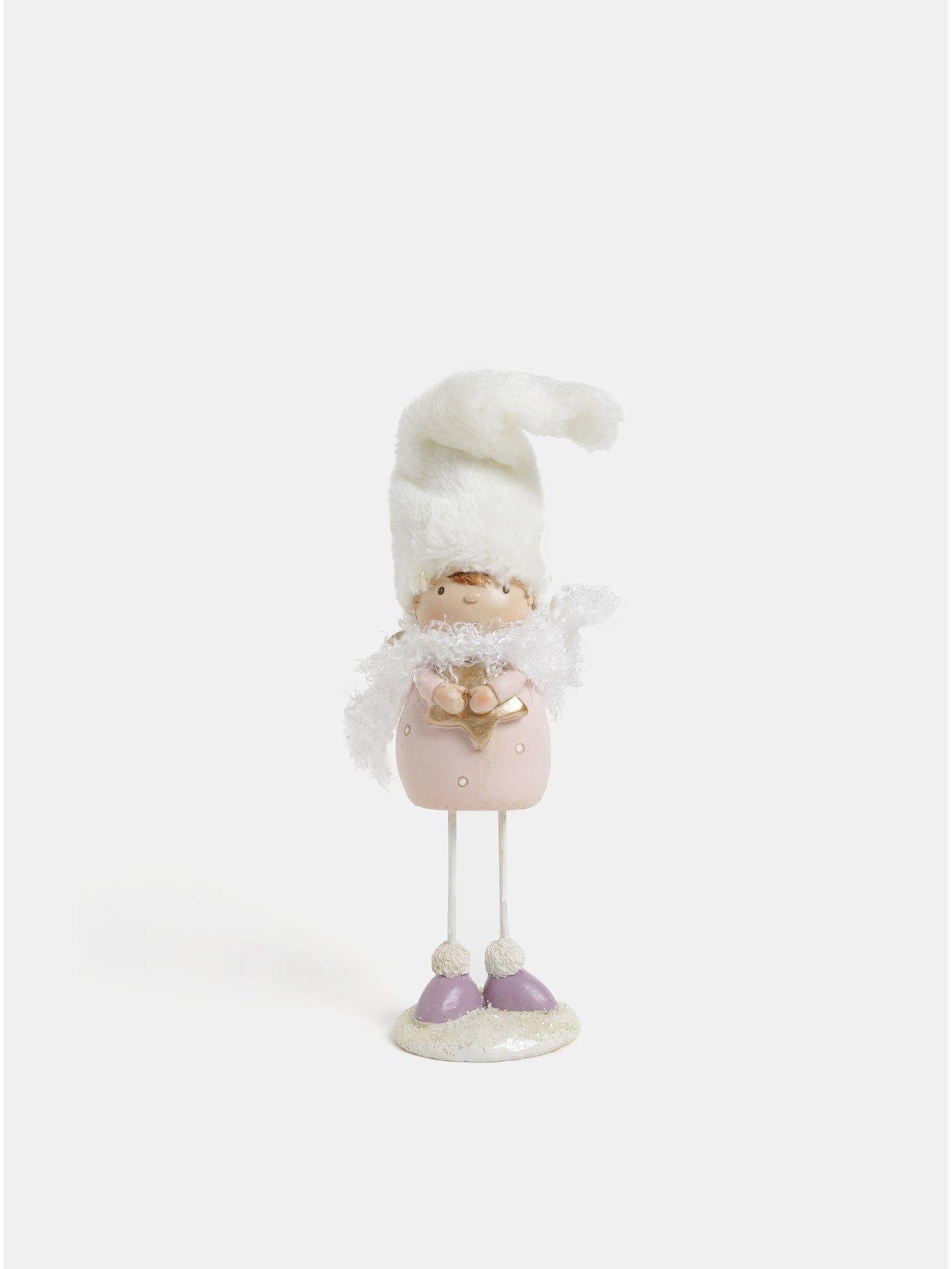 Fotografie Růžová vánoční dekorace ve tvaru anděla Kaemingk