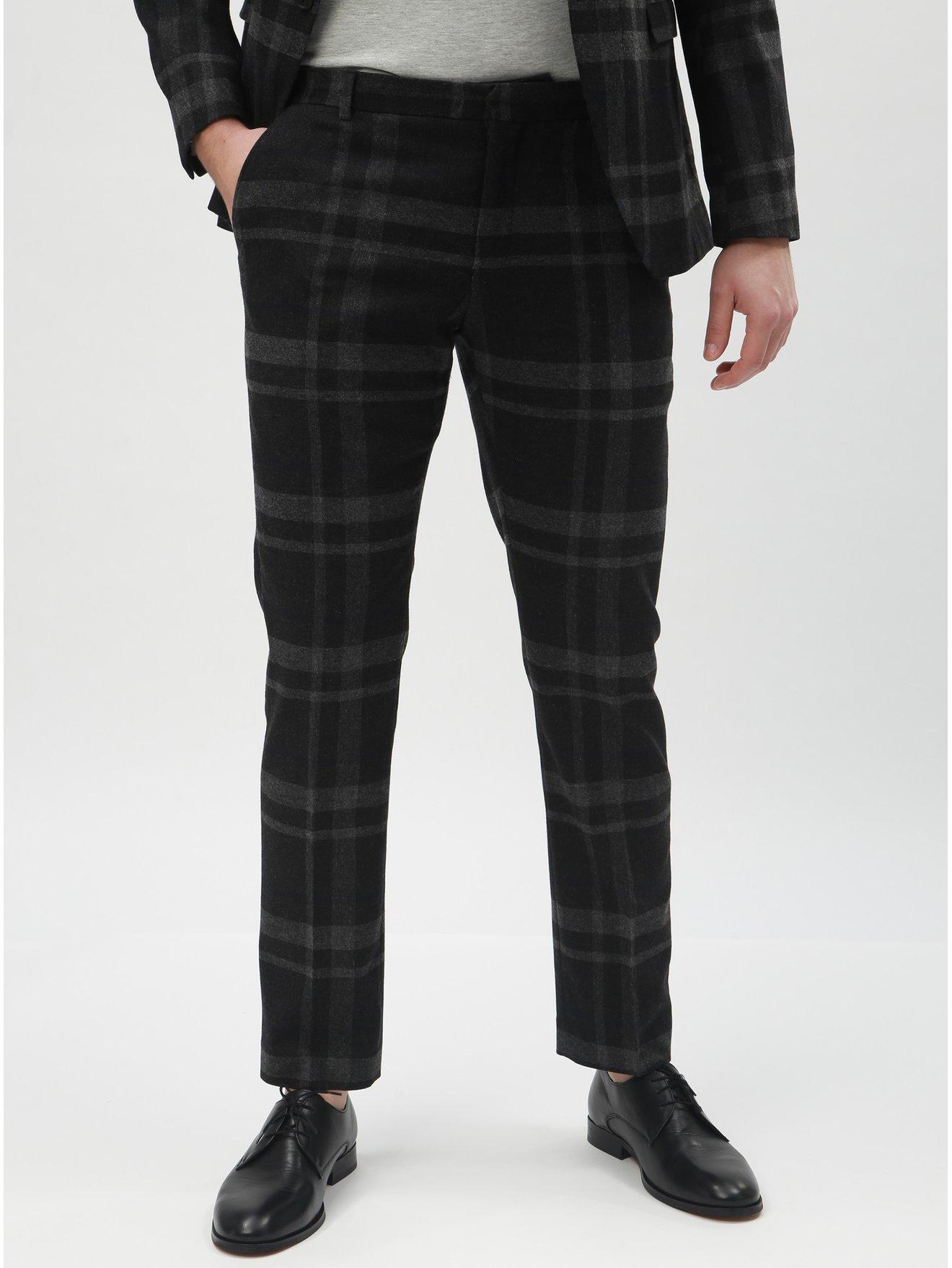 Tmavě šedé vlněné kostkované oblekové kalhoty Selected Homme Mylojole 6e485cb4cf