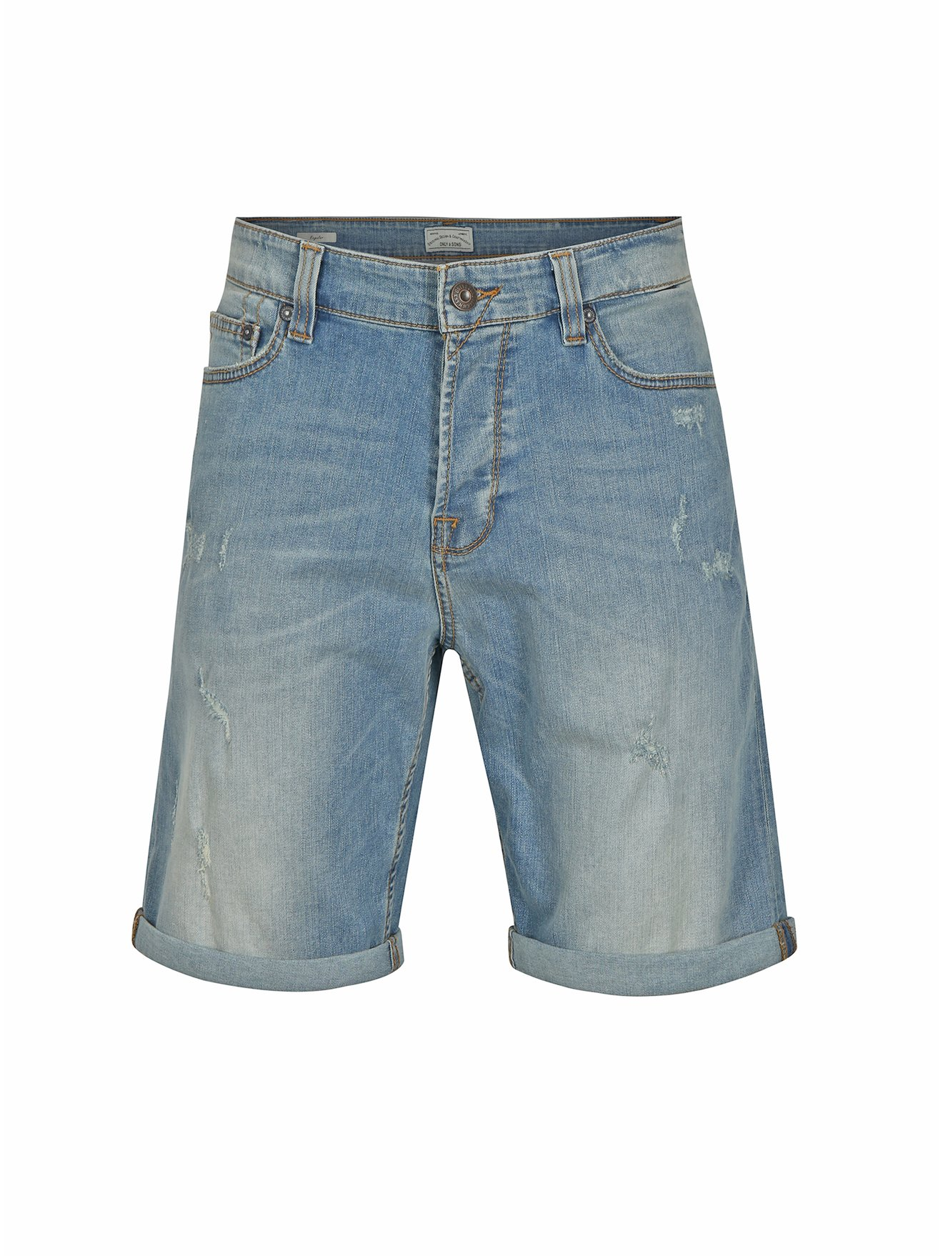 Světle modré džínové kraťasy s potrhaným efektem ONLY & SONS Ply