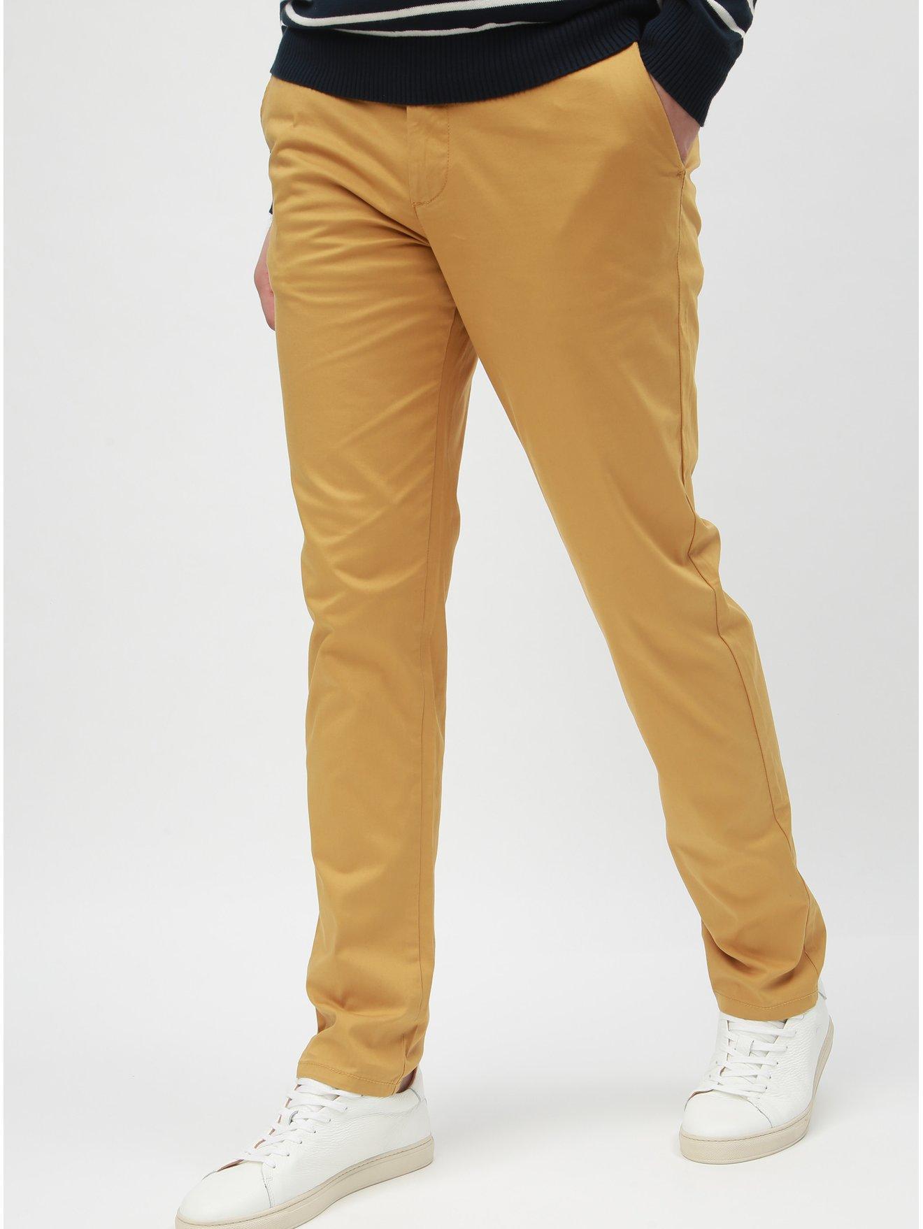 Žluté slim kalhoty s páskem Selected Homme Yard