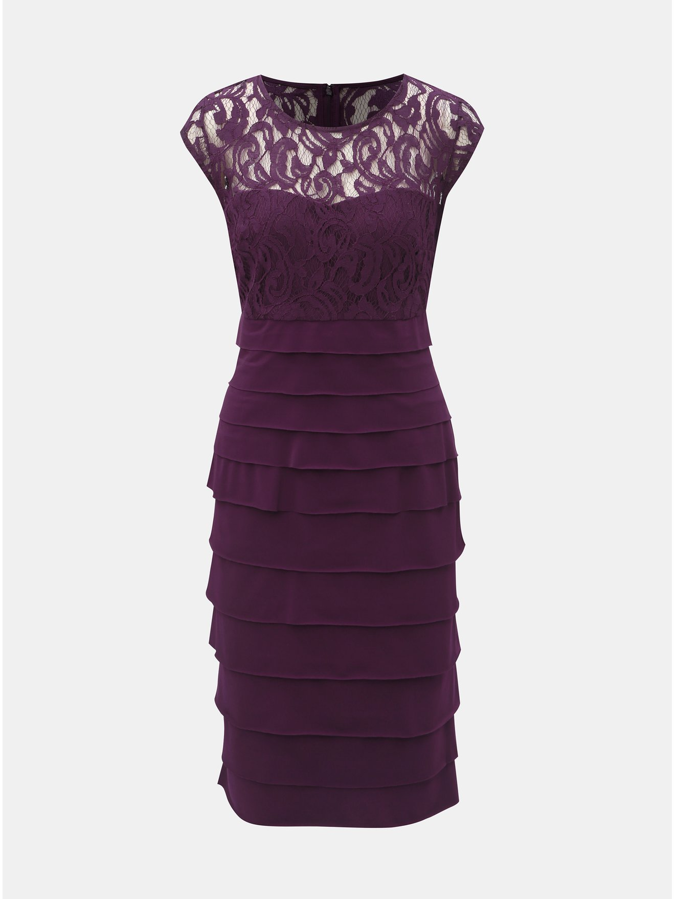 Fialové šaty s krajkovým detailem Lily & Franc by Dorothy Perkins