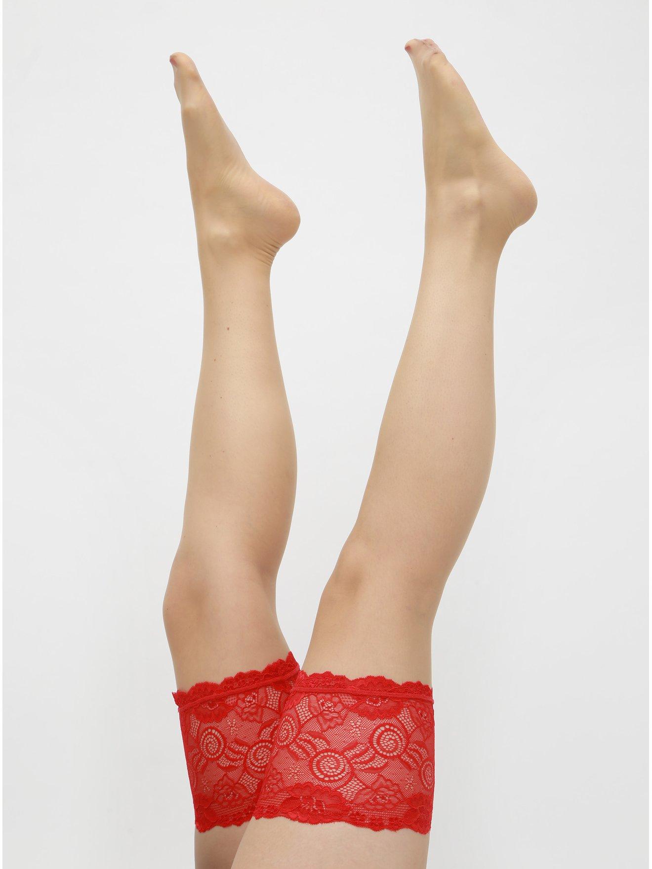 Fotografie Punčochy s červenou krajkou Obsessive