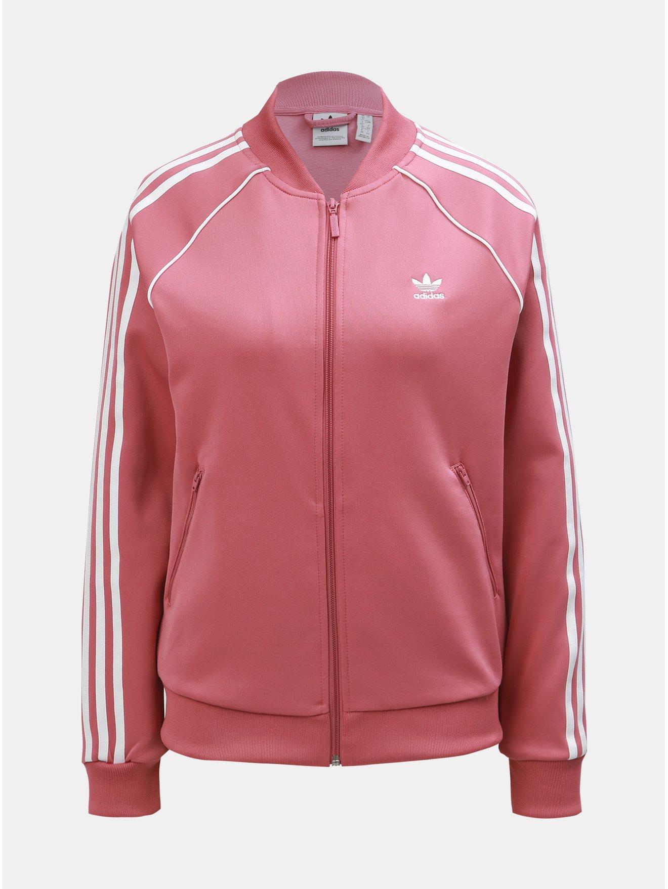 Růžová dámská mikina na zip adidas Originals