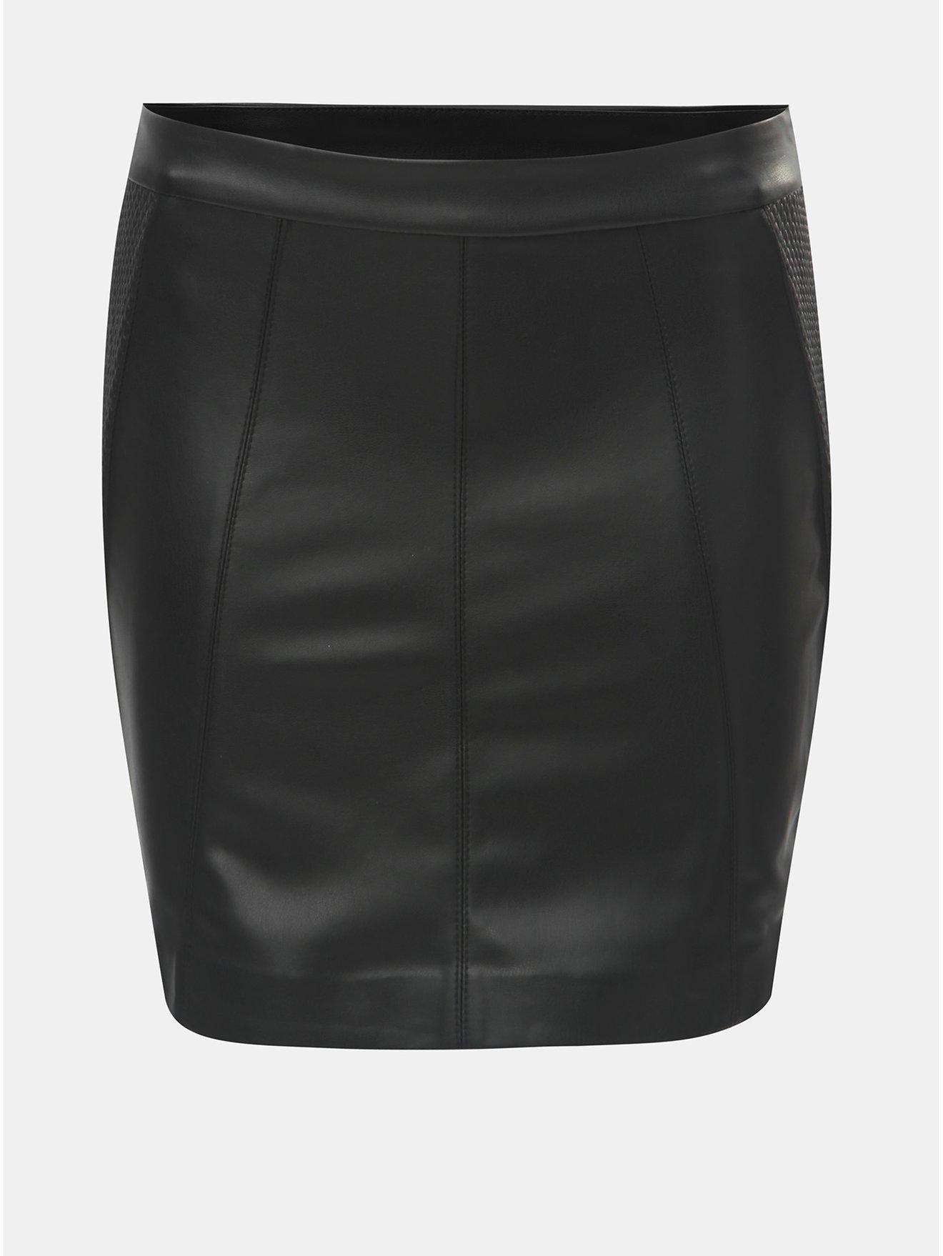 d58e4db6236 Černá koženková pouzdrová sukně ONLY