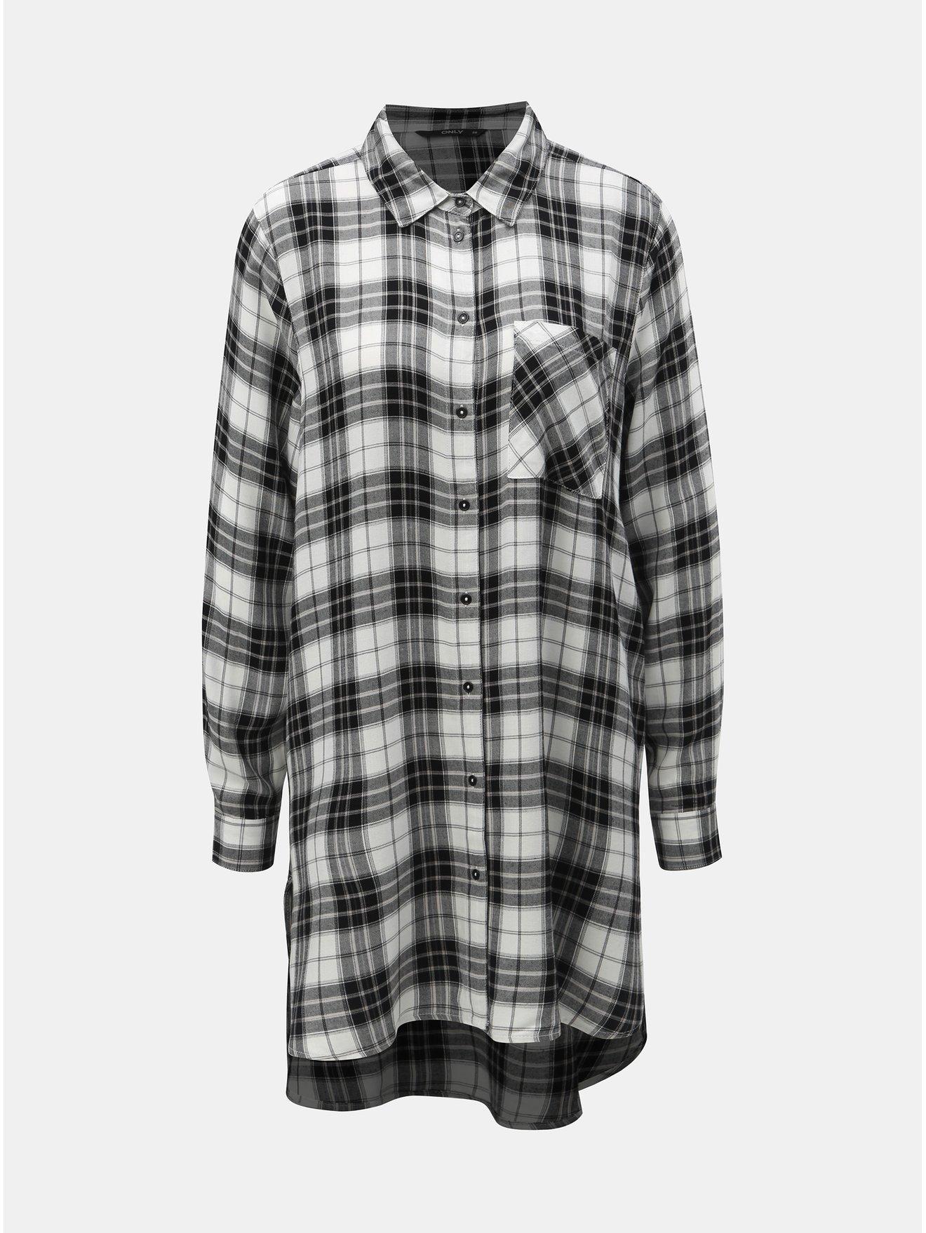 Černo-bílá dlouhá kostkovaná košile ONLY abb421b9db