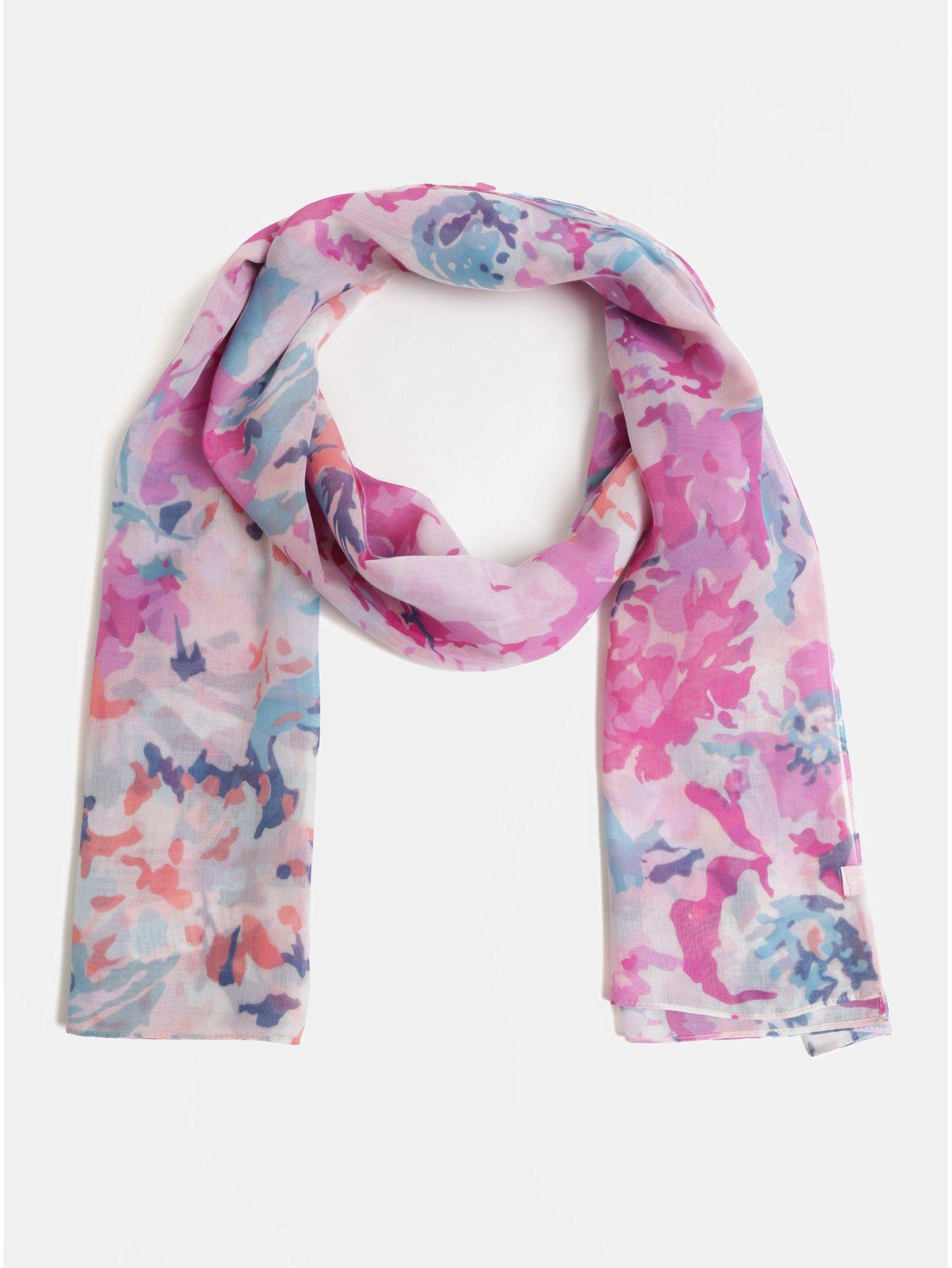 a4c373d90b7 Modro-růžový dámský květovaný šátek Tom Joule