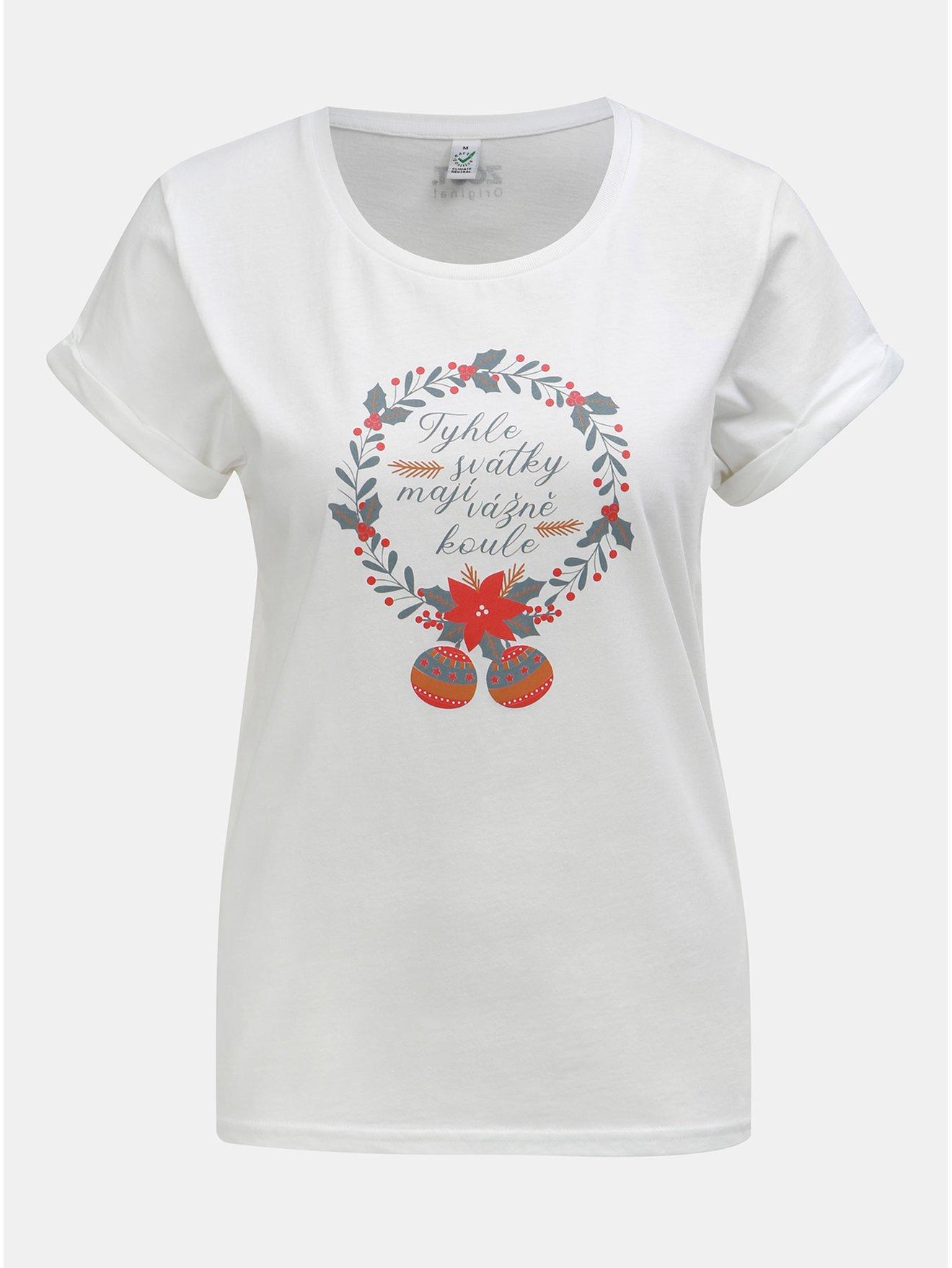 Fotografie Bílé dámské tričko a potiskem ZOOT Original Svátky mají koule