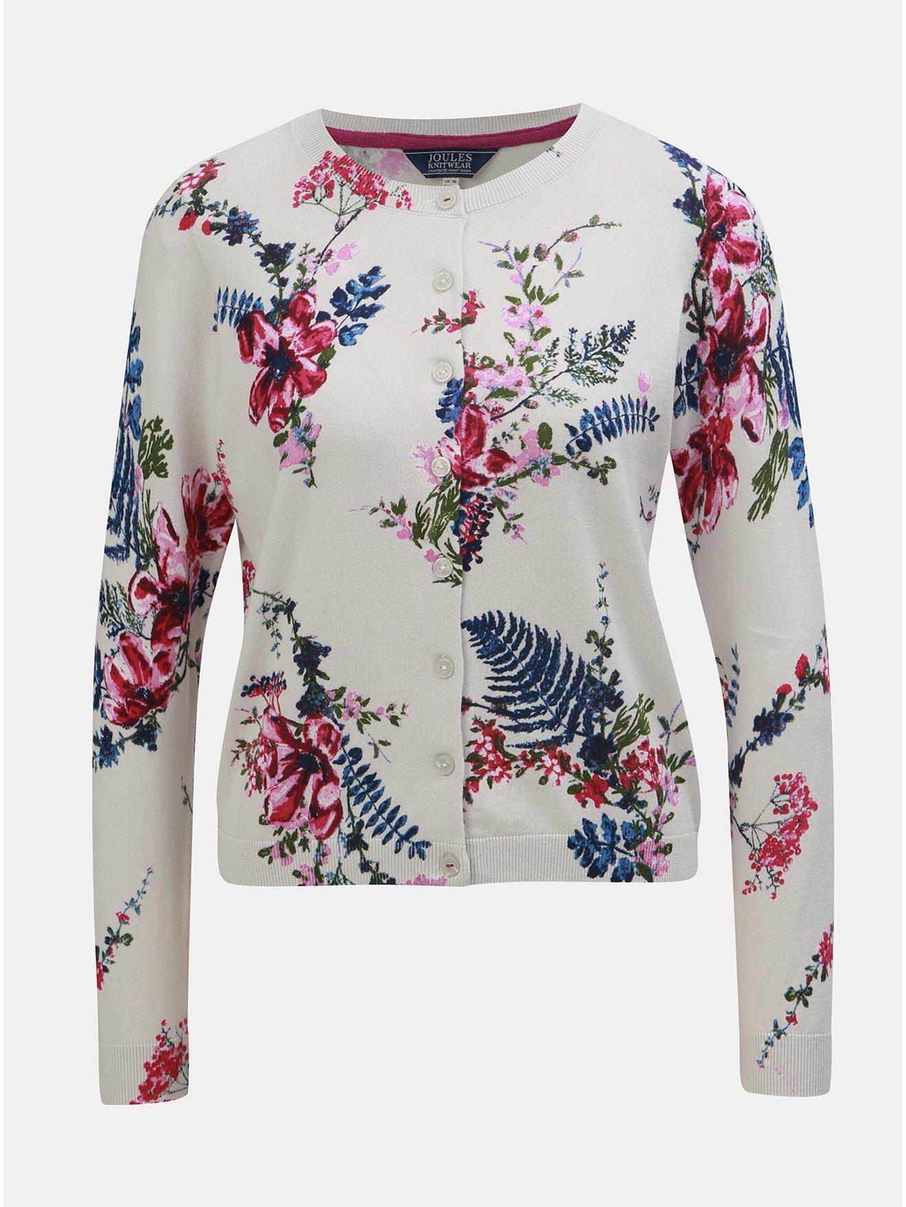7cb52b2819 Růžovo-krémový dámský květovaný kardigan Tom Joule