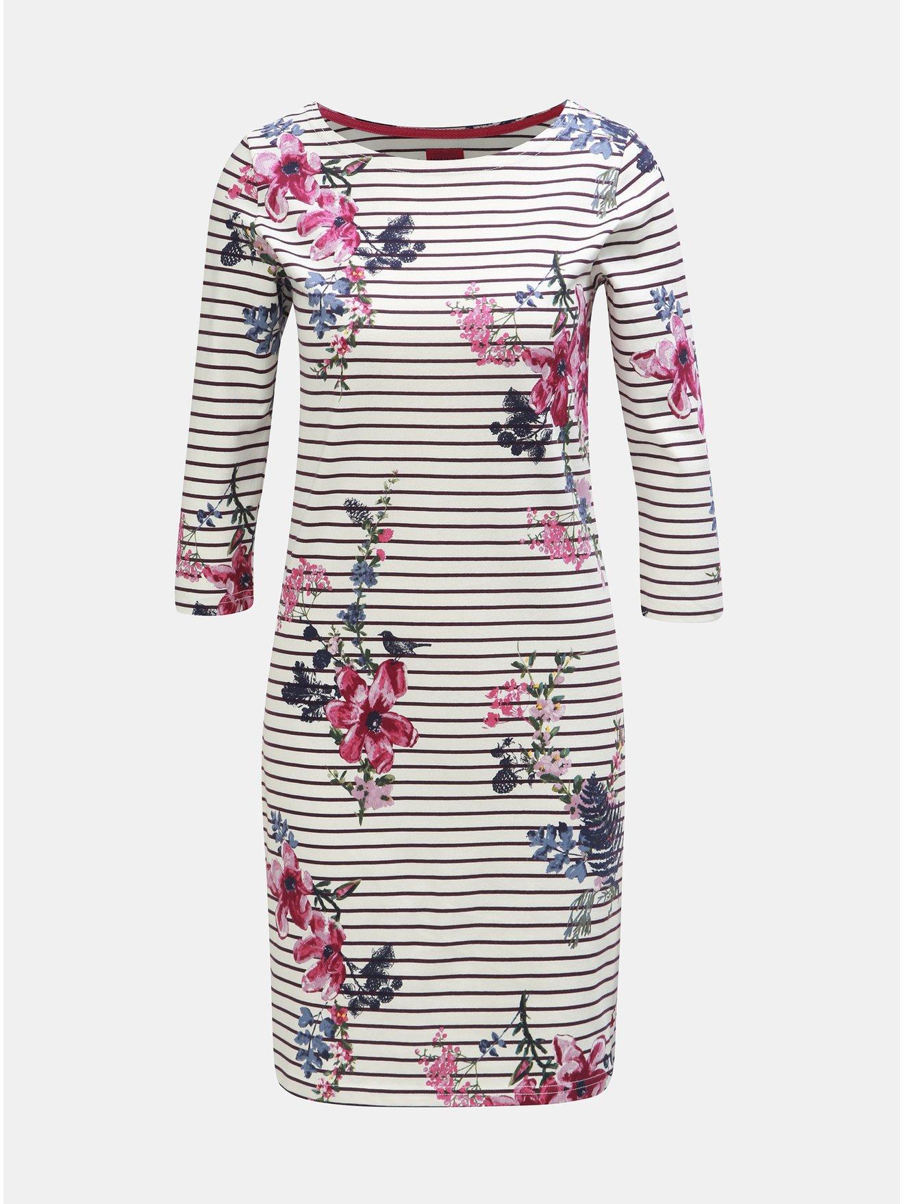 Fotografie Fialovo-bílé dámské květované pruhované šaty s 3/4 rukávem Tom Joule