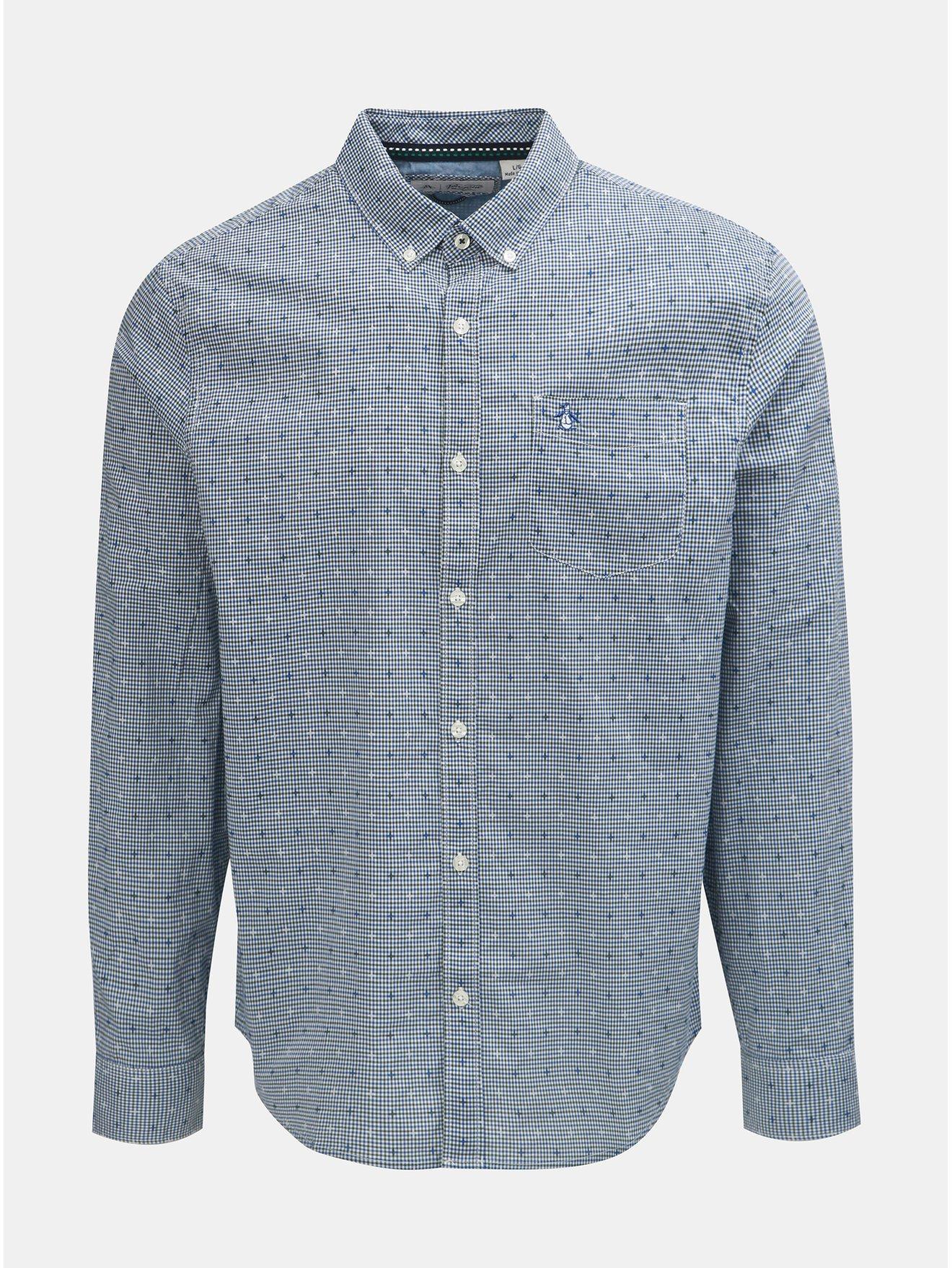 a7a78485bd6 Modrá kostkovaná košile s náprsní kapsou Original Penguin
