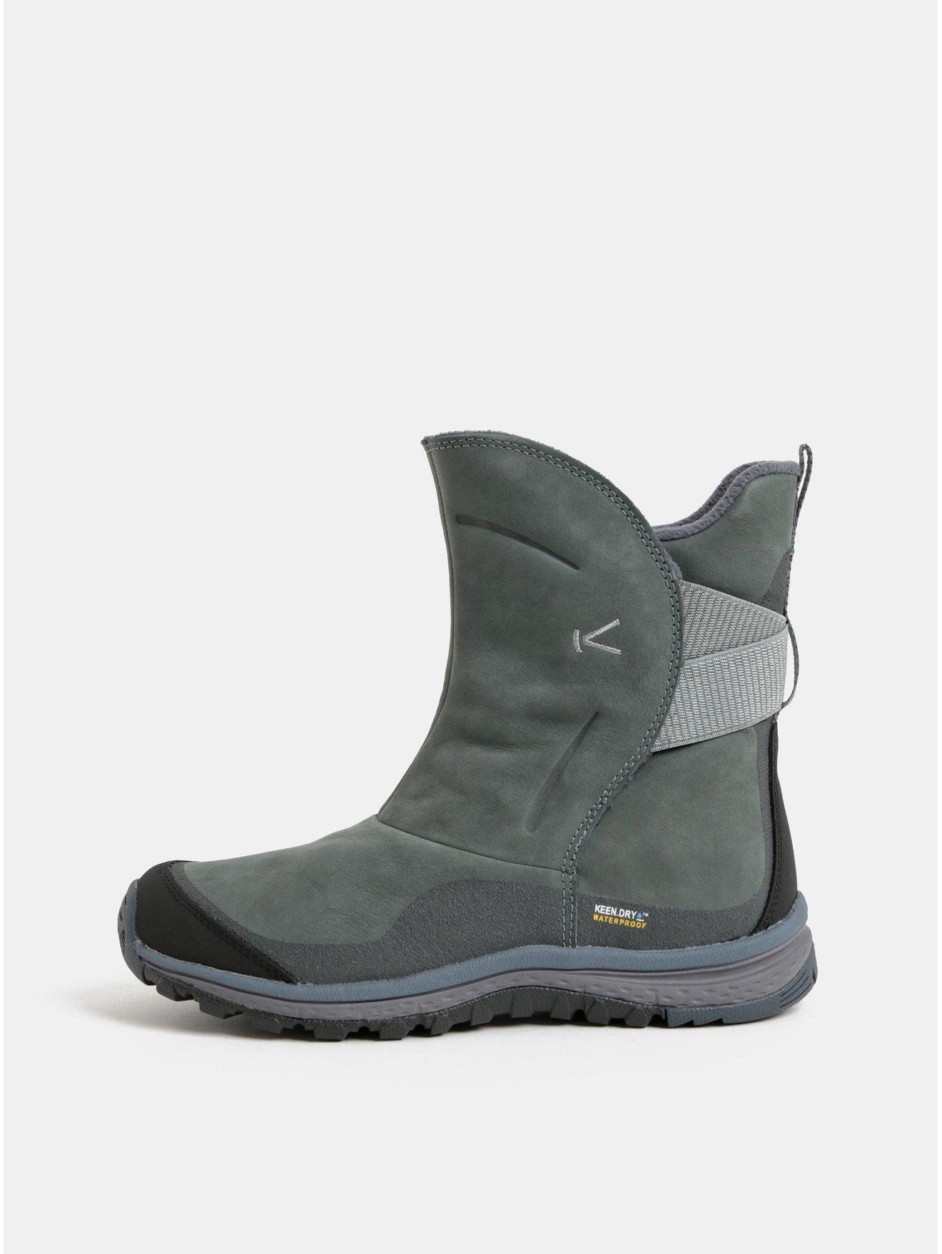 Zelené dámské kožené voděodolné zimní boty Keen Lea