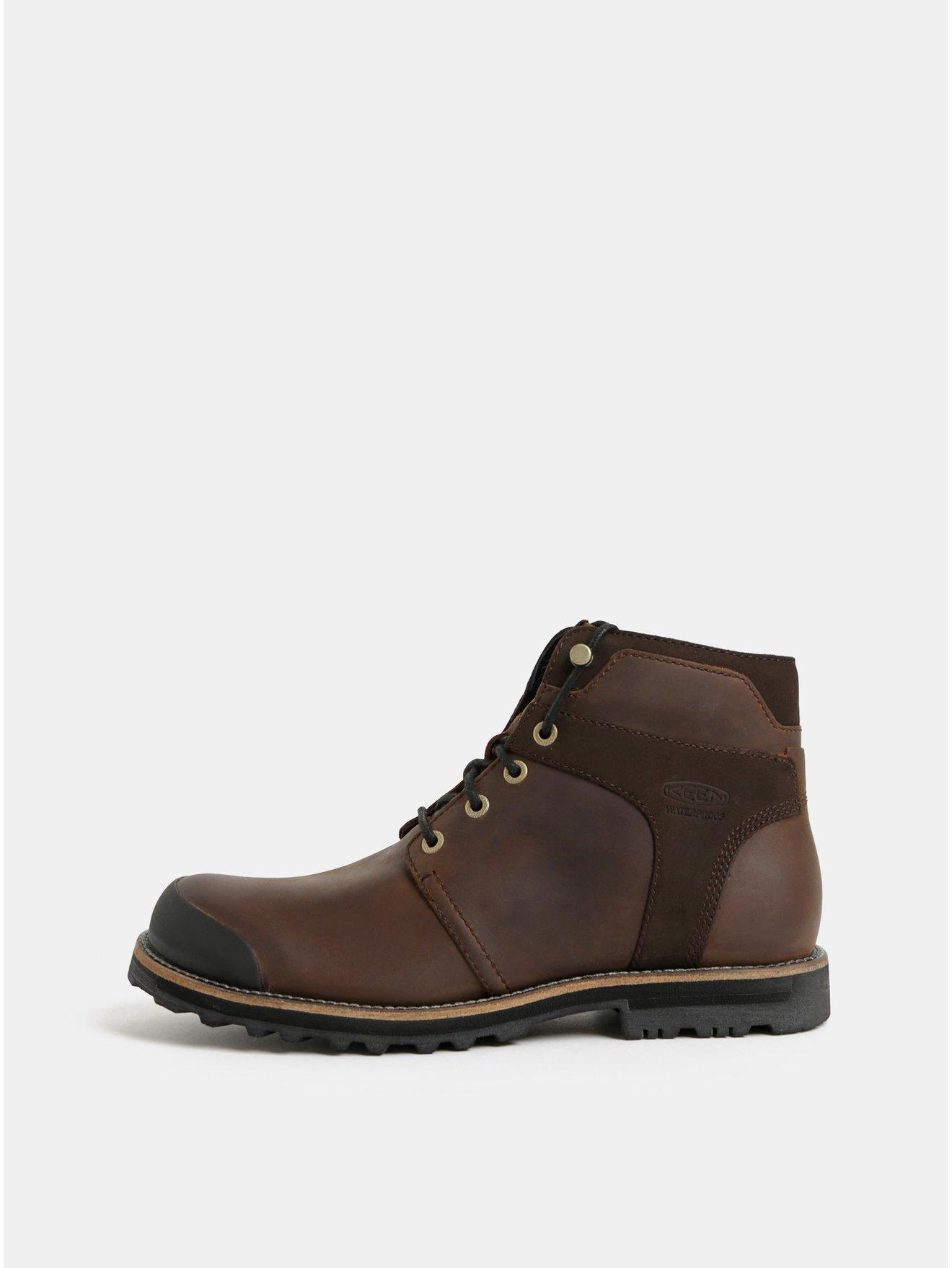 Tmavě hnědé pánské kožené voděodolné kotníkové boty Keen Rocker