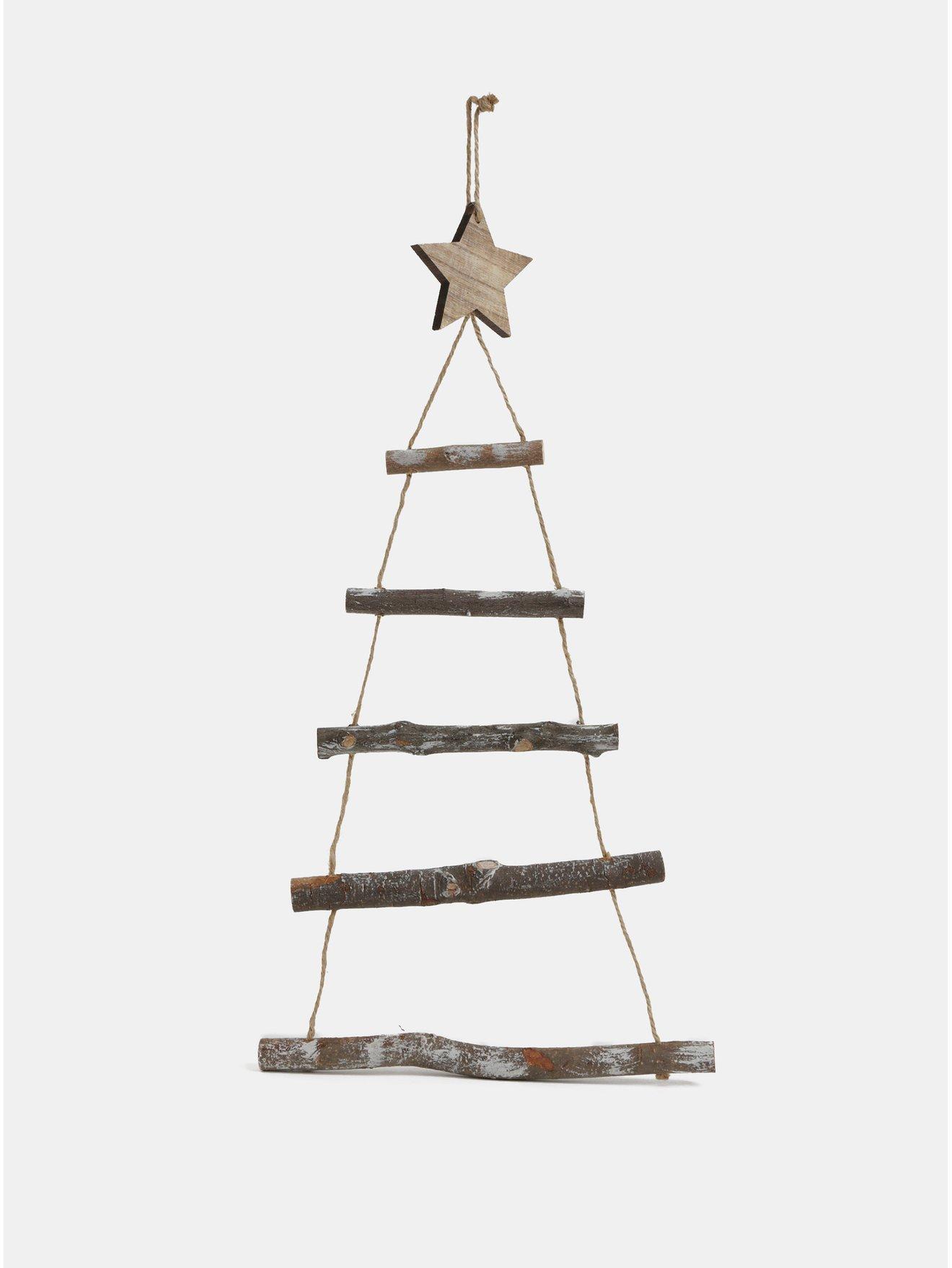 Hnědá dřevěná závěsná vánoční dekorace ve tvaru stromku Kaemingk