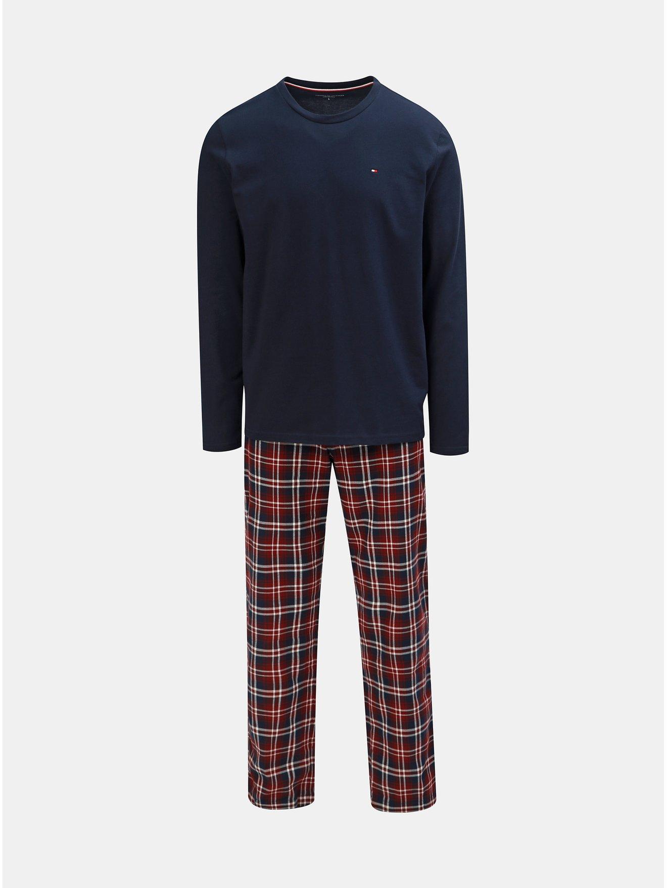 Fotografie Dvoudílné pánské pyžamo v tmavě modré a vínové barvě Tommy Hilfiger