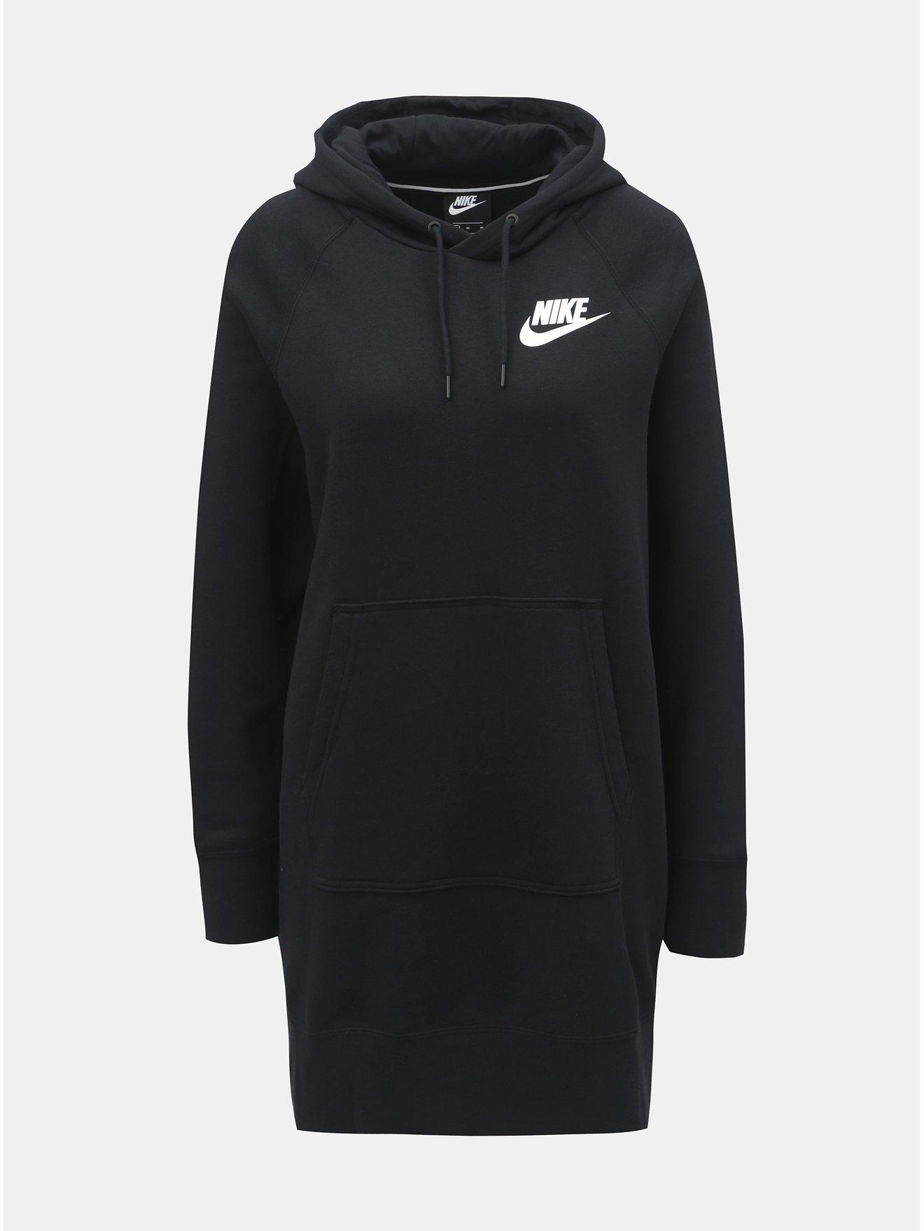 Černé dámské volné mikinové šaty s kapucí Nike