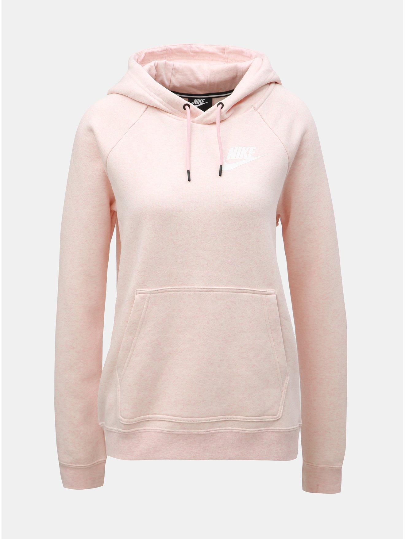 2c8be48e36 Světle růžová dámská žíhaná mikina s kapucí Nike