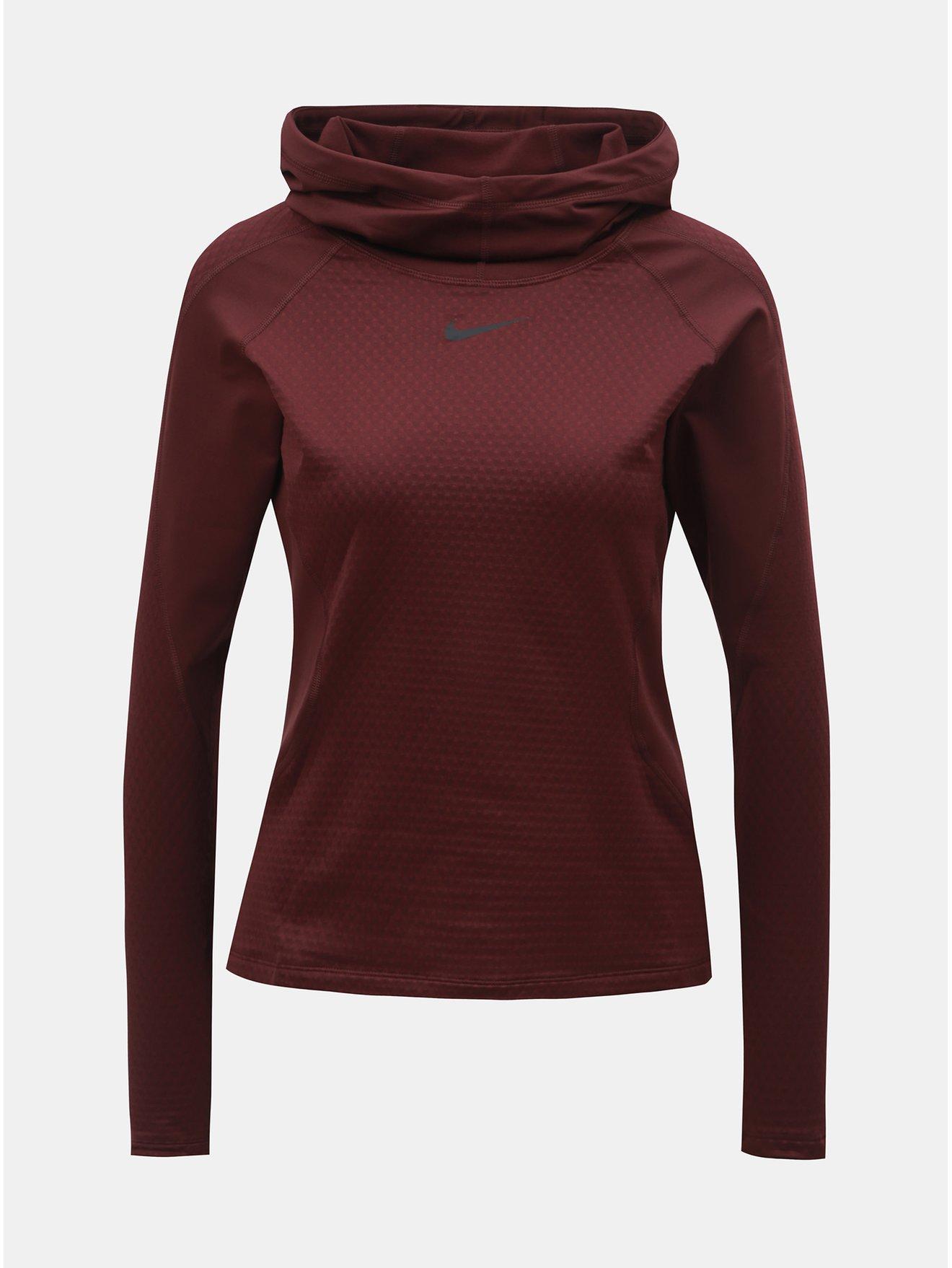 Vínová dámská termo mikina s kapucí Nike