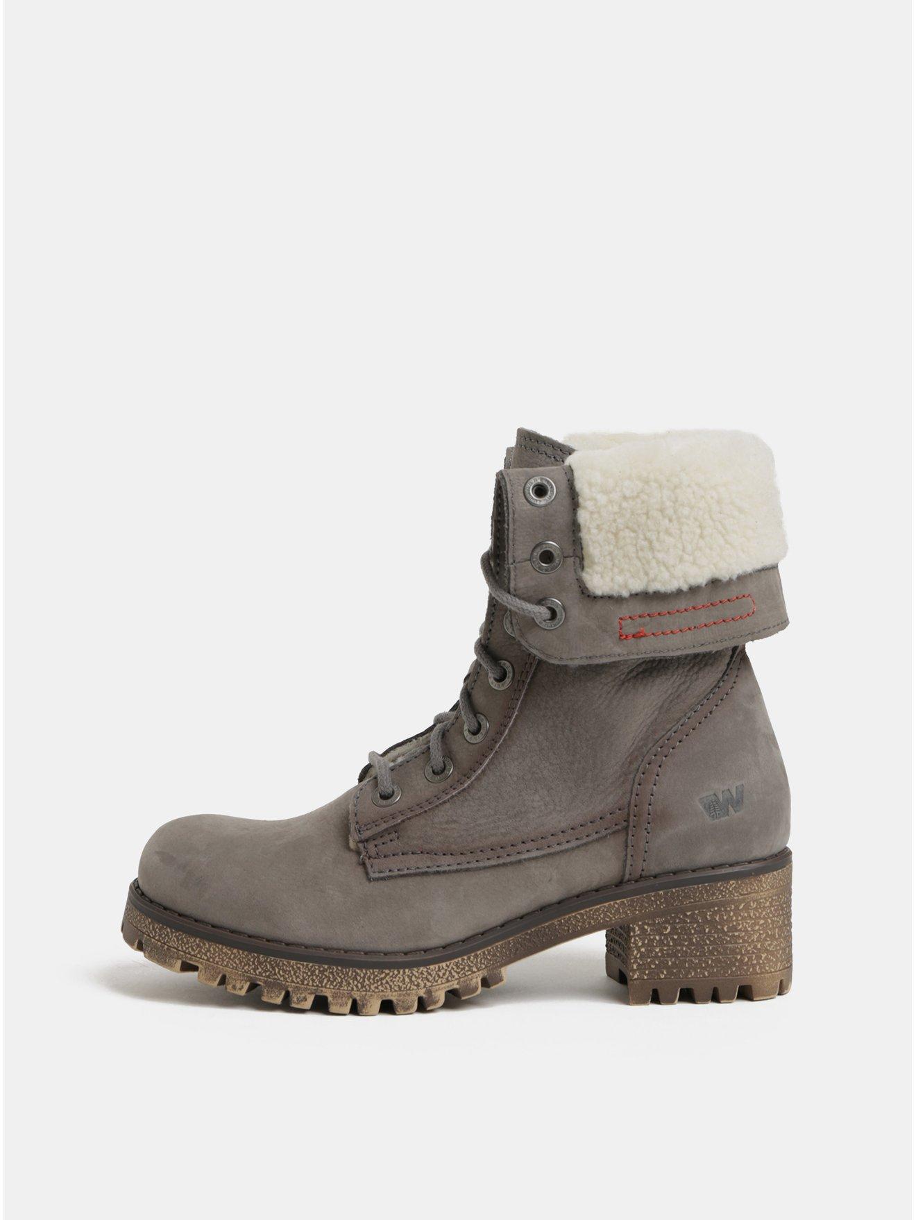 117d0a44f0f Šedé dámské kožené kotníkové boty s vnitřním umělým kožíškem Weinbrenner