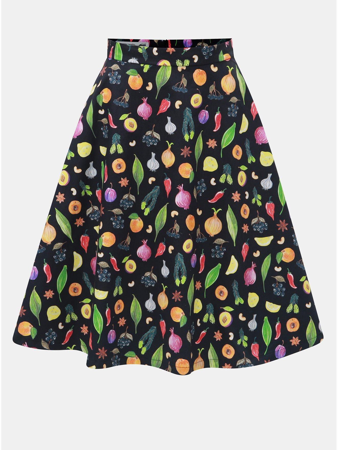 Oranžovo-černá sukně s motivem ovoce a zeleniny annanemone