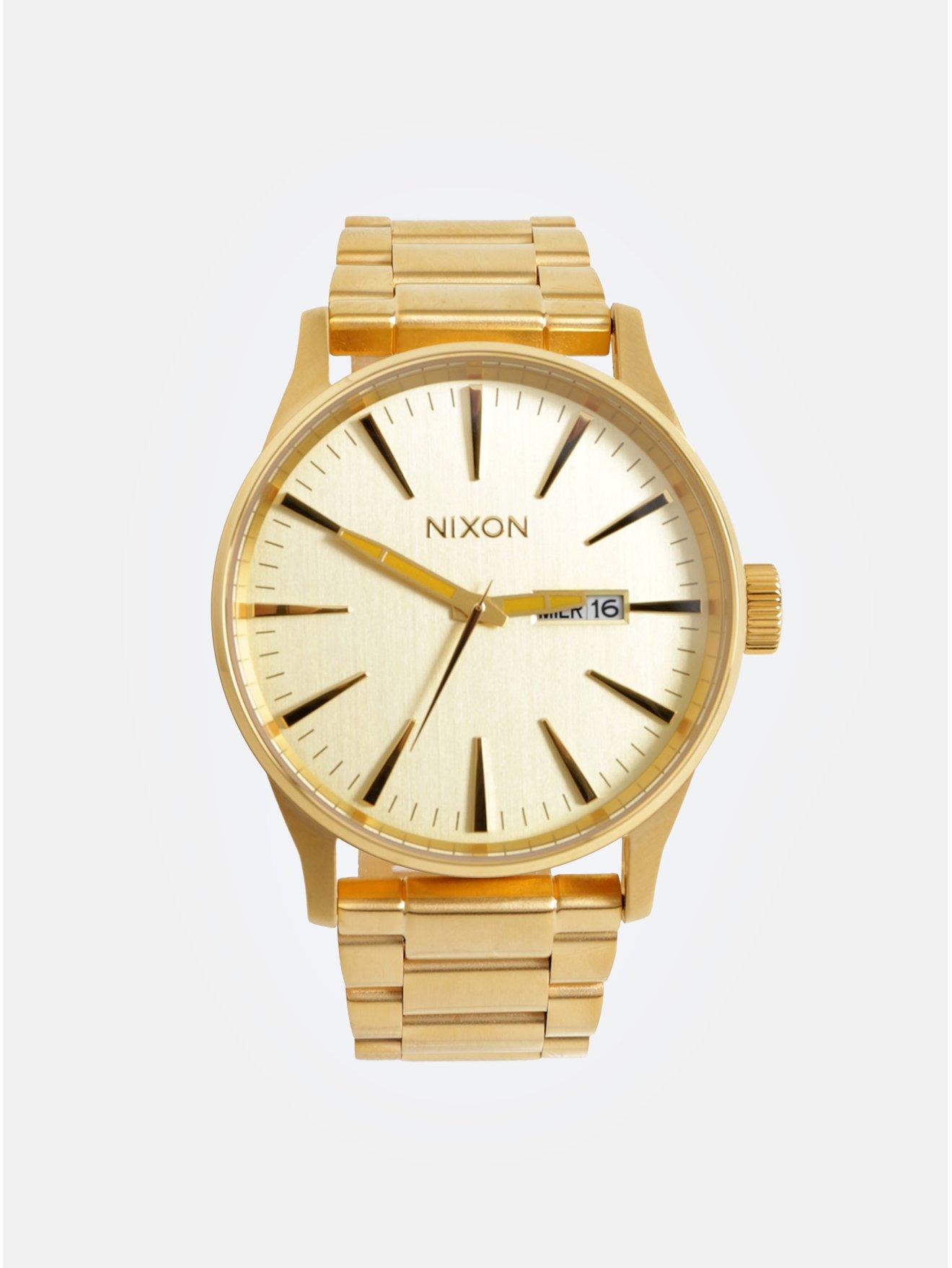 98d3a2ff997 Pánské hodinky s nerezovým páskem ve zlaté barvě NIXON