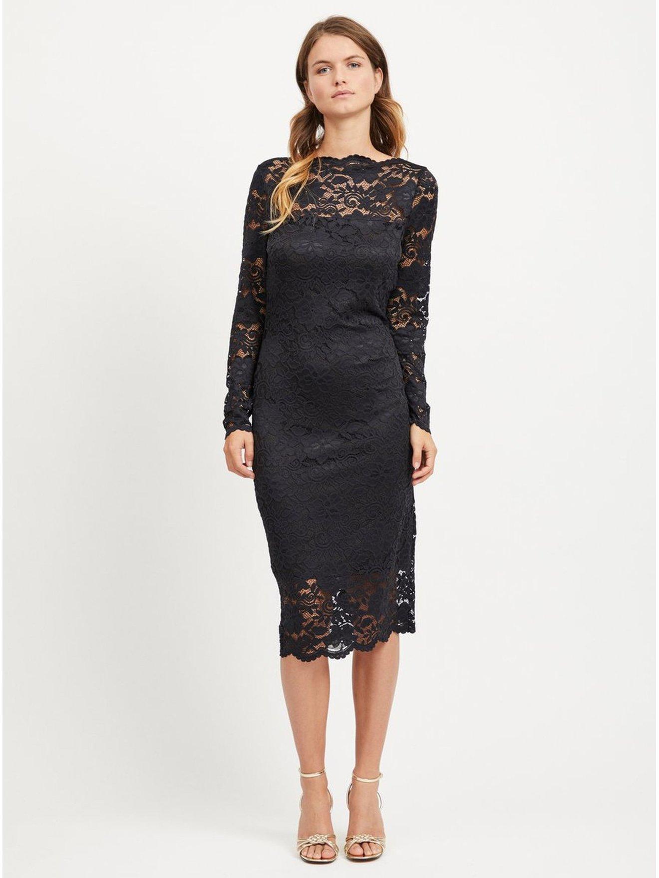 8d8580196ac Černé pouzdrové krajkové šaty s dlouhým rukávem VILA Grit